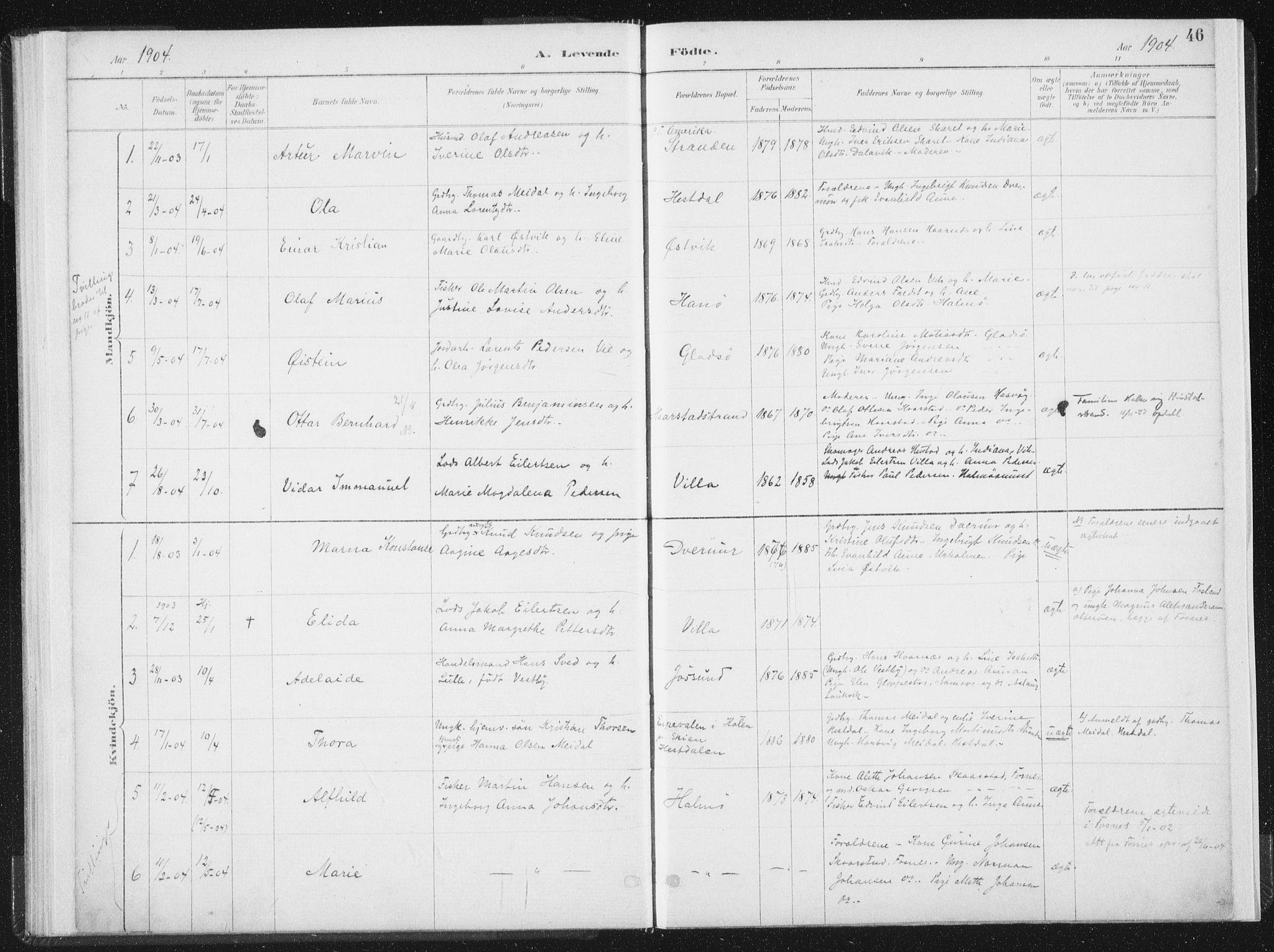SAT, Ministerialprotokoller, klokkerbøker og fødselsregistre - Nord-Trøndelag, 771/L0597: Ministerialbok nr. 771A04, 1885-1910, s. 46