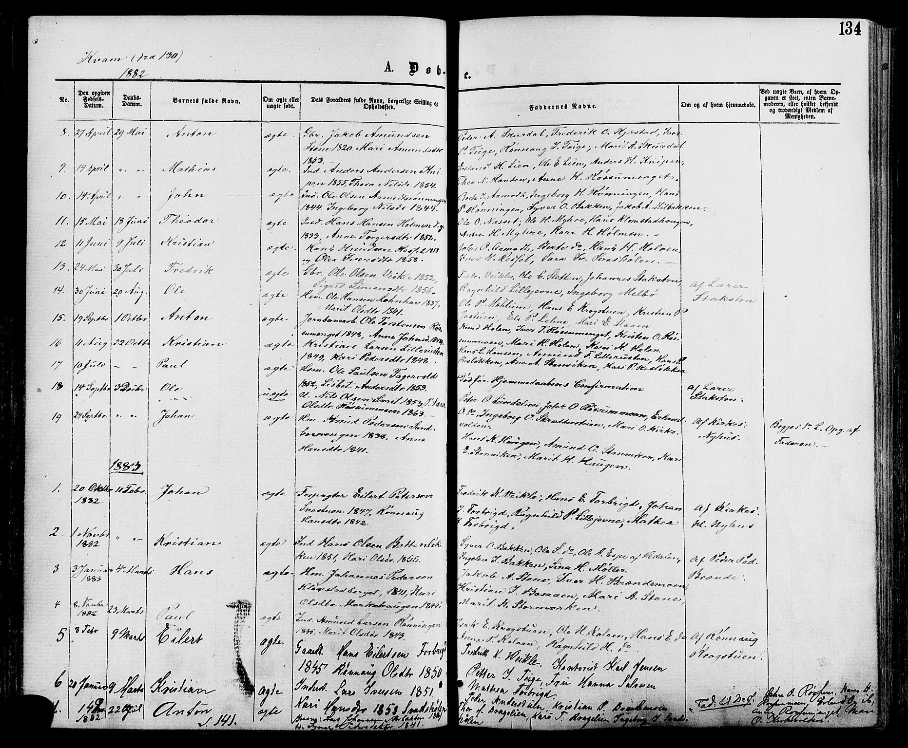 SAH, Nord-Fron prestekontor, Ministerialbok nr. 2, 1865-1883, s. 134