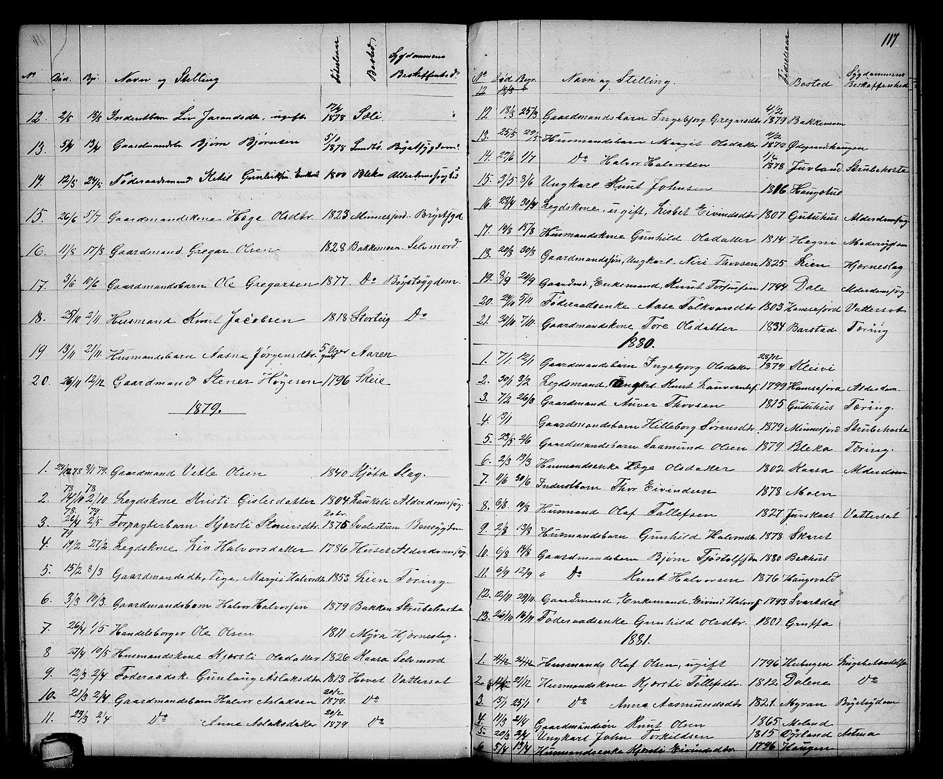 SAKO, Seljord kirkebøker, G/Gb/L0003: Klokkerbok nr. II 3, 1863-1884, s. 117