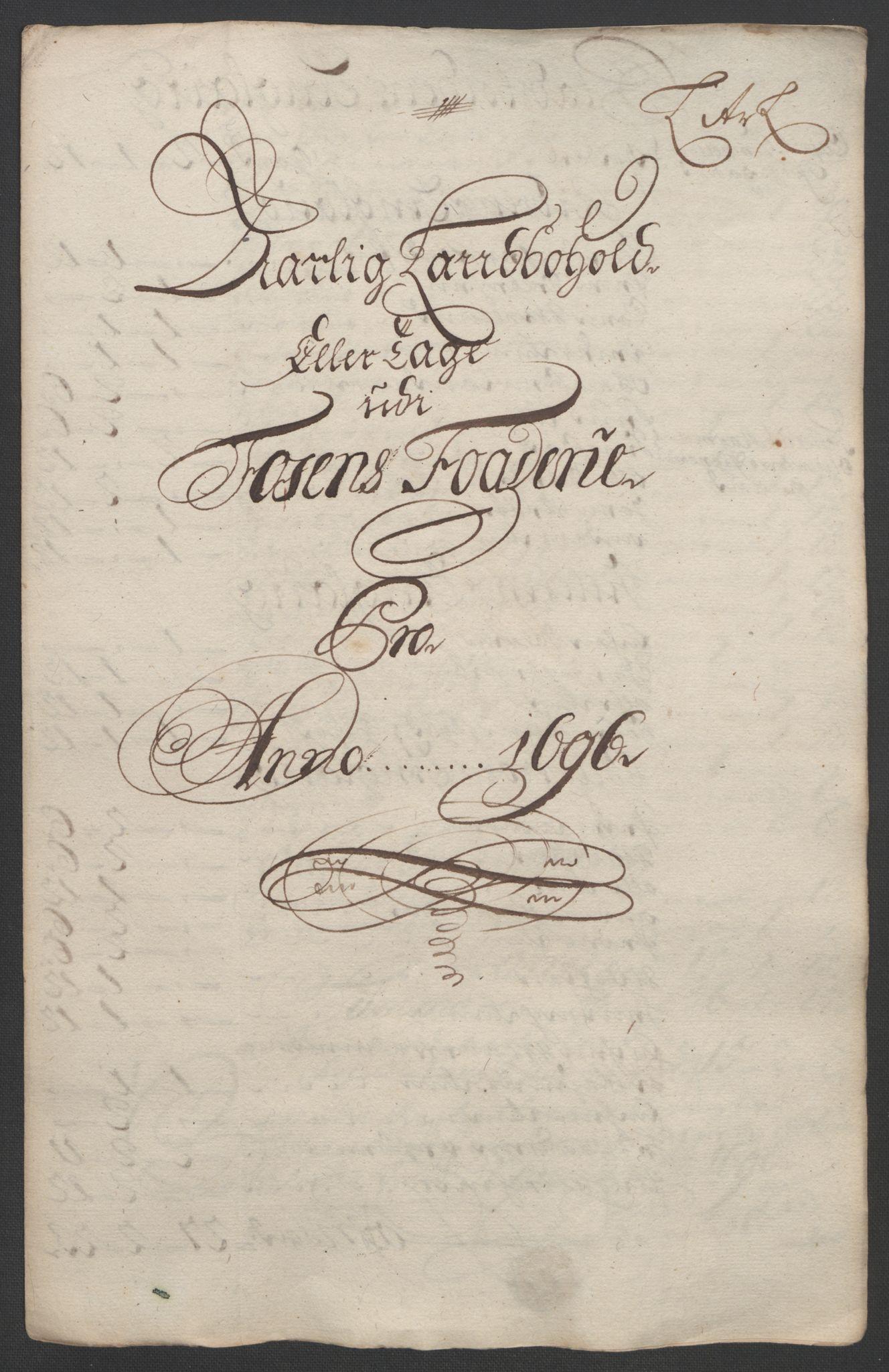 RA, Rentekammeret inntil 1814, Reviderte regnskaper, Fogderegnskap, R57/L3851: Fogderegnskap Fosen, 1695-1696, s. 282
