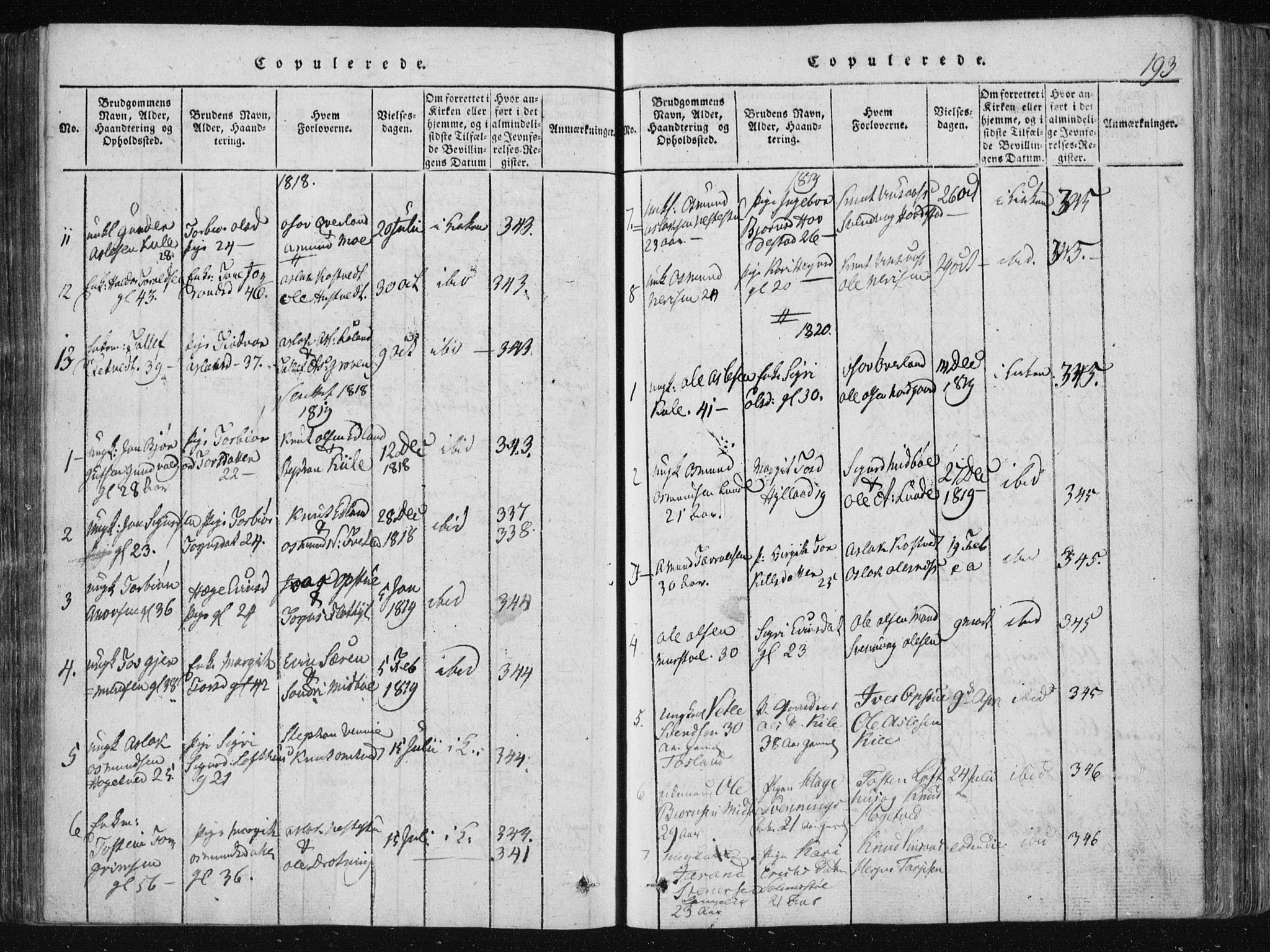 SAKO, Vinje kirkebøker, F/Fa/L0003: Ministerialbok nr. I 3, 1814-1843, s. 193