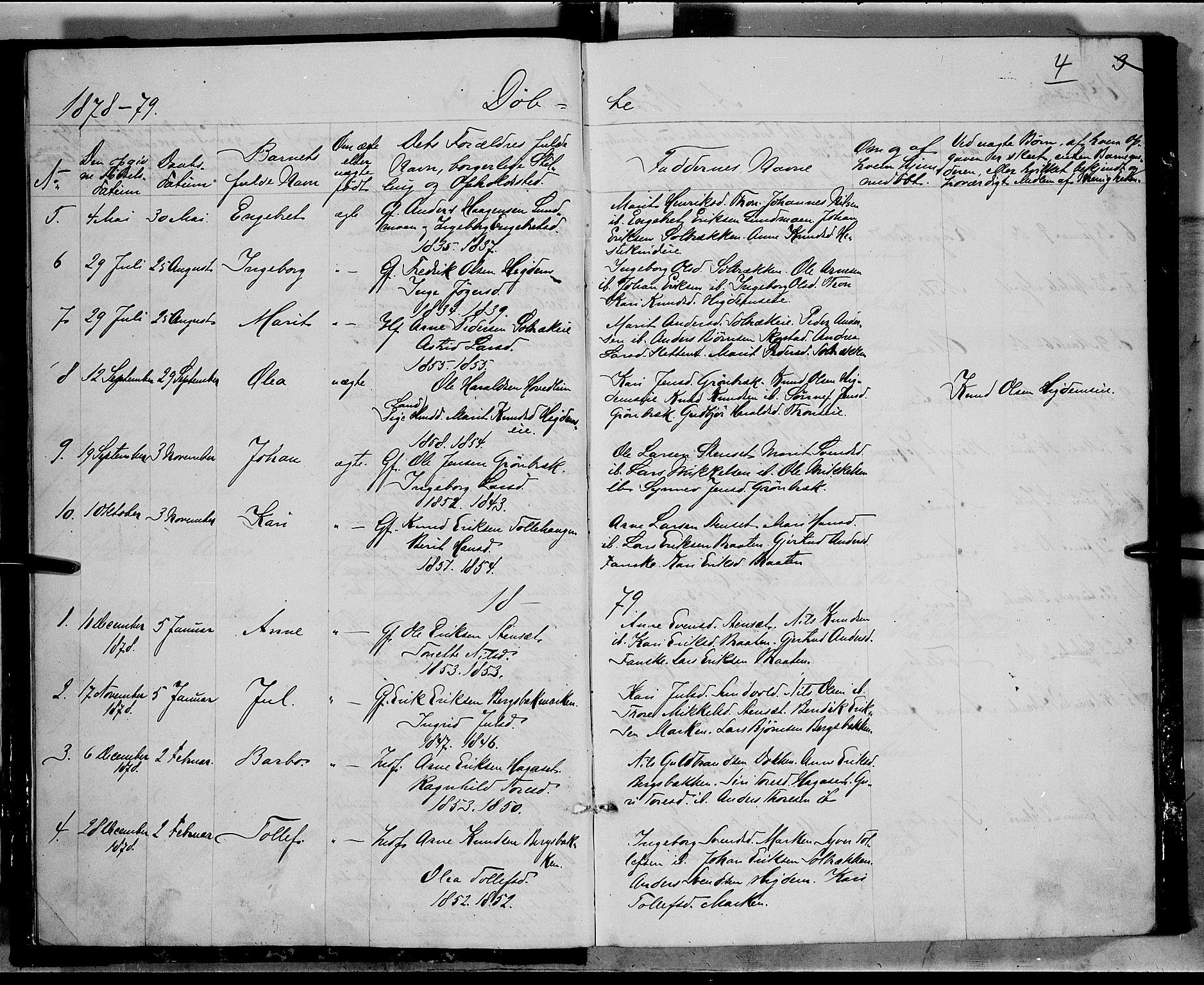 SAH, Nord-Aurdal prestekontor, Klokkerbok nr. 5, 1876-1895, s. 4