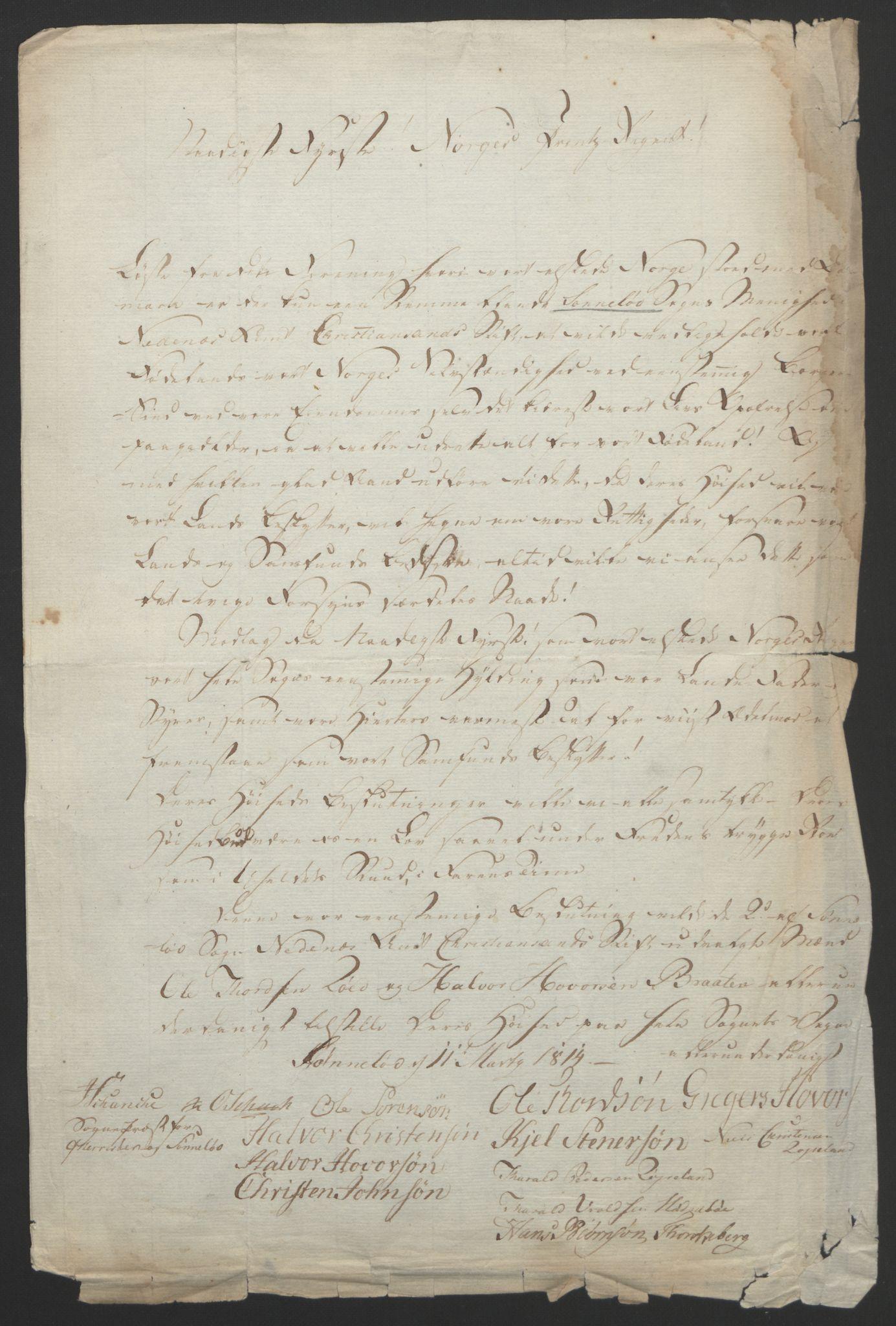 RA, Statsrådssekretariatet, D/Db/L0008: Fullmakter for Eidsvollsrepresentantene i 1814. , 1814, s. 97