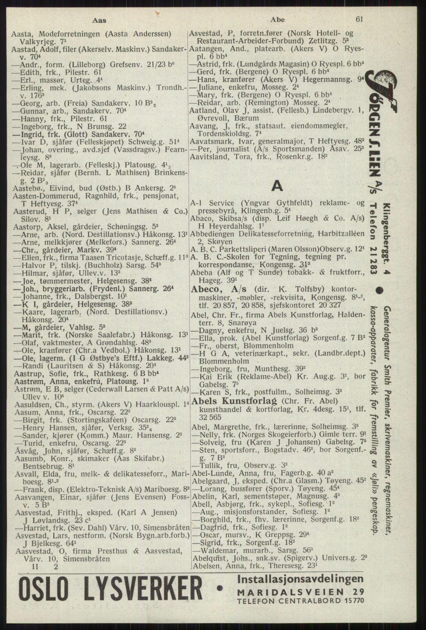 RA, Oslo adressebok (publikasjon)*, 1941, s. 61