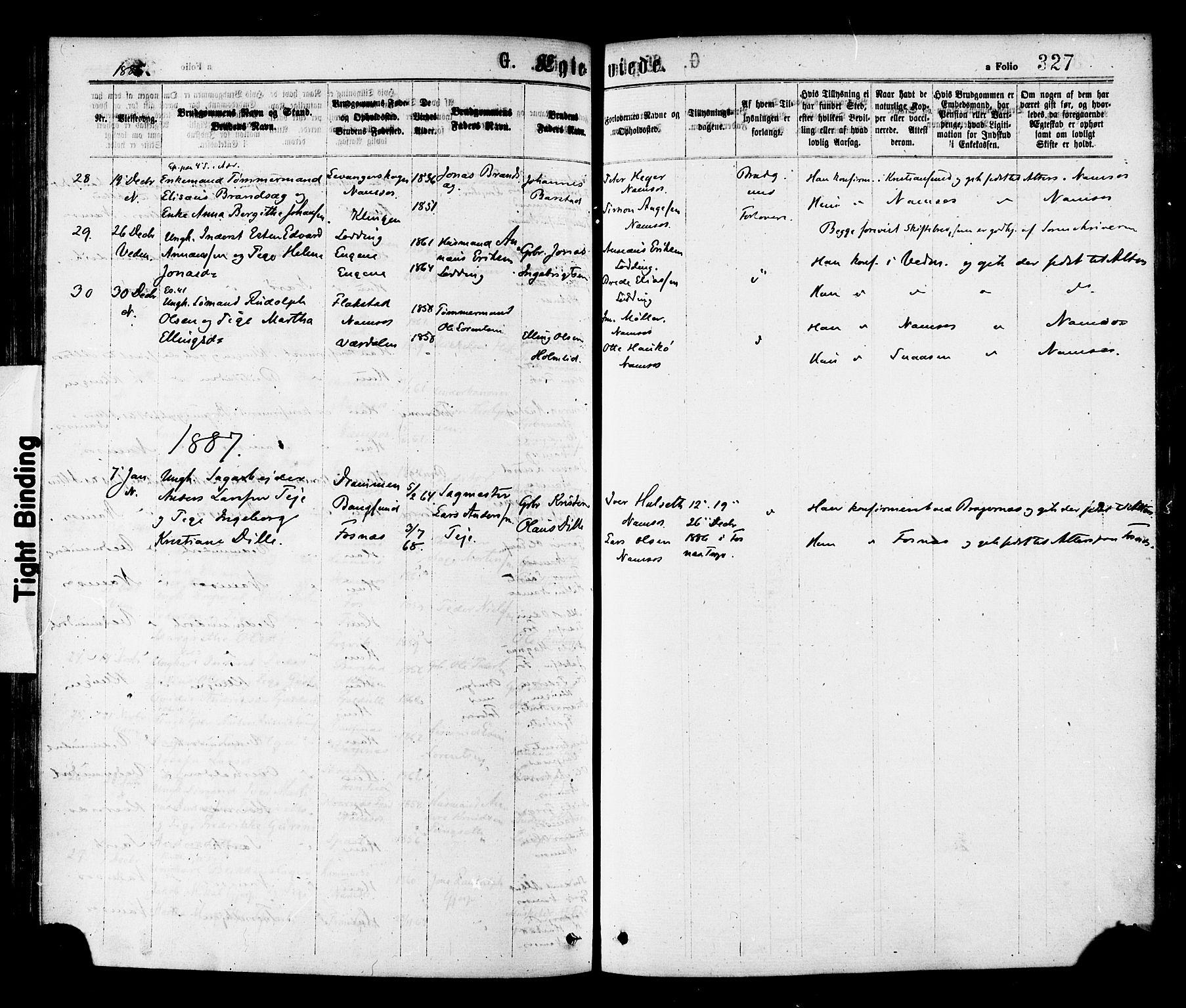 SAT, Ministerialprotokoller, klokkerbøker og fødselsregistre - Nord-Trøndelag, 768/L0572: Ministerialbok nr. 768A07, 1874-1886, s. 327