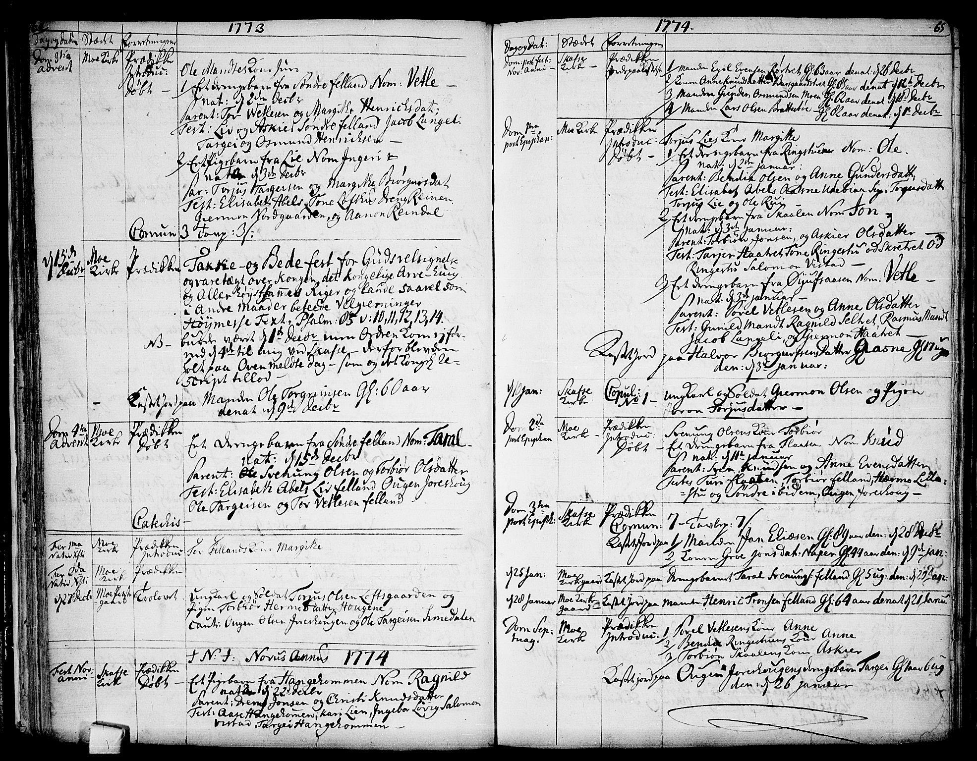 SAKO, Mo kirkebøker, F/Fa/L0002: Ministerialbok nr. I 2, 1766-1799, s. 64-65