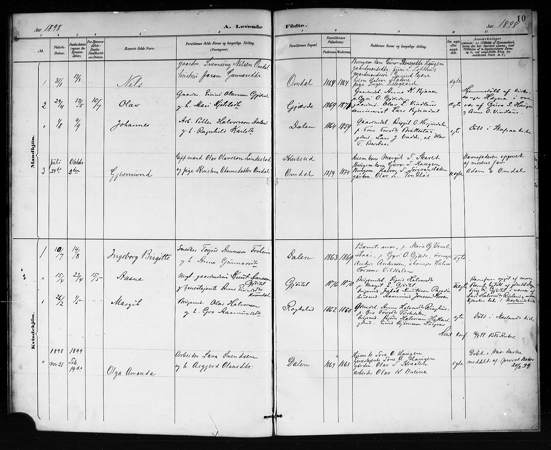 SAKO, Lårdal kirkebøker, G/Gb/L0003: Klokkerbok nr. II 3, 1889-1920, s. 10