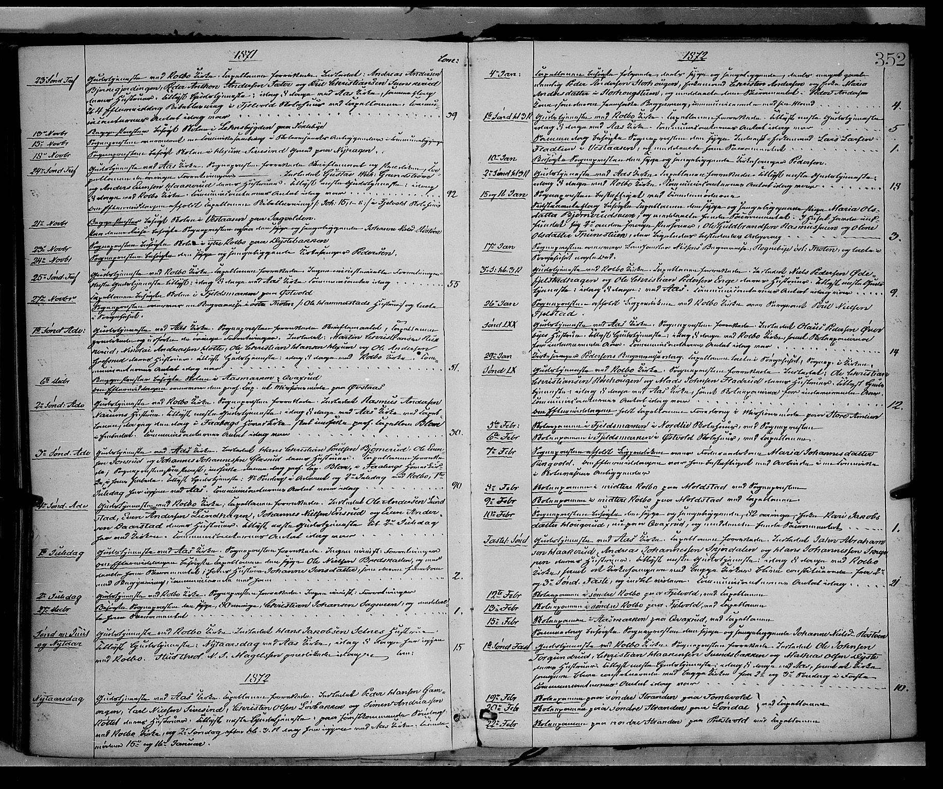 SAH, Vestre Toten prestekontor, Ministerialbok nr. 8, 1870-1877, s. 352