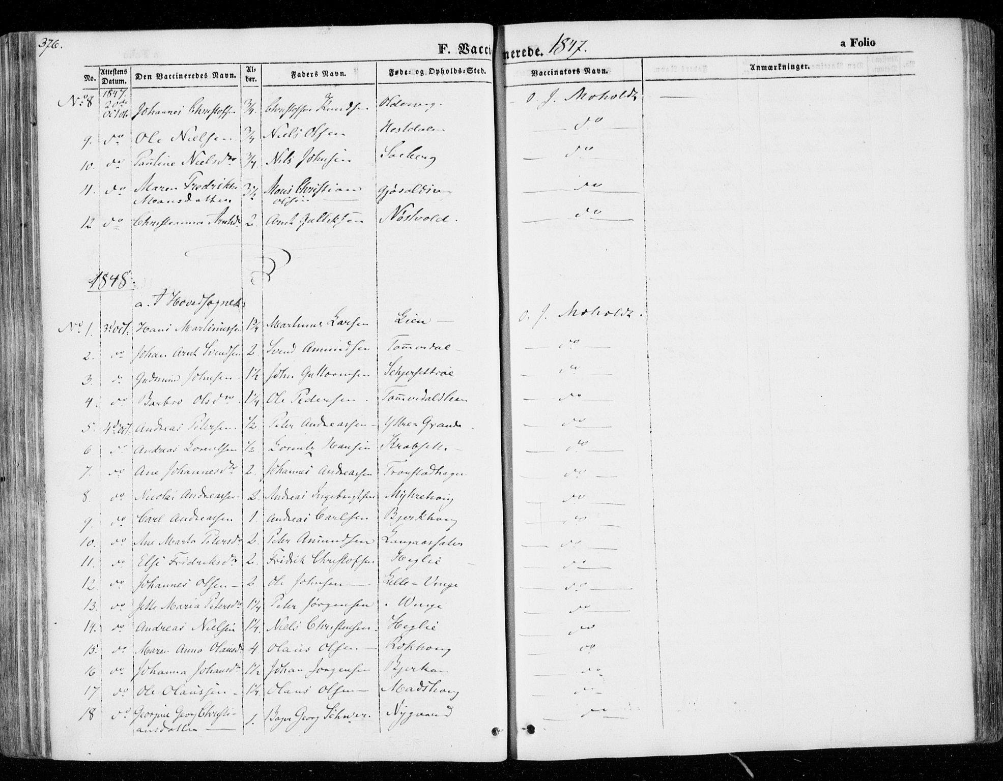 SAT, Ministerialprotokoller, klokkerbøker og fødselsregistre - Nord-Trøndelag, 701/L0007: Ministerialbok nr. 701A07 /1, 1842-1854, s. 376