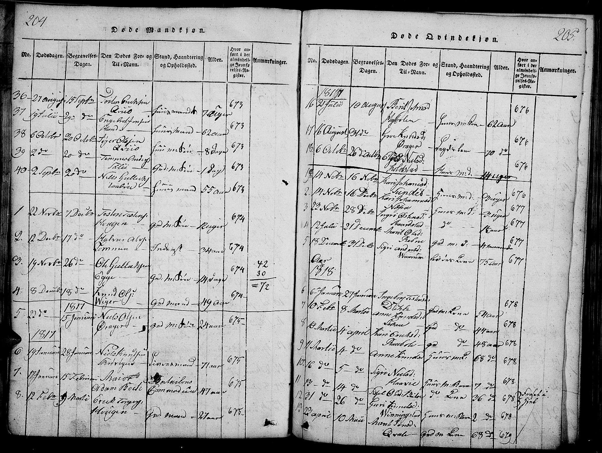 SAH, Slidre prestekontor, Ministerialbok nr. 2, 1814-1830, s. 204-205