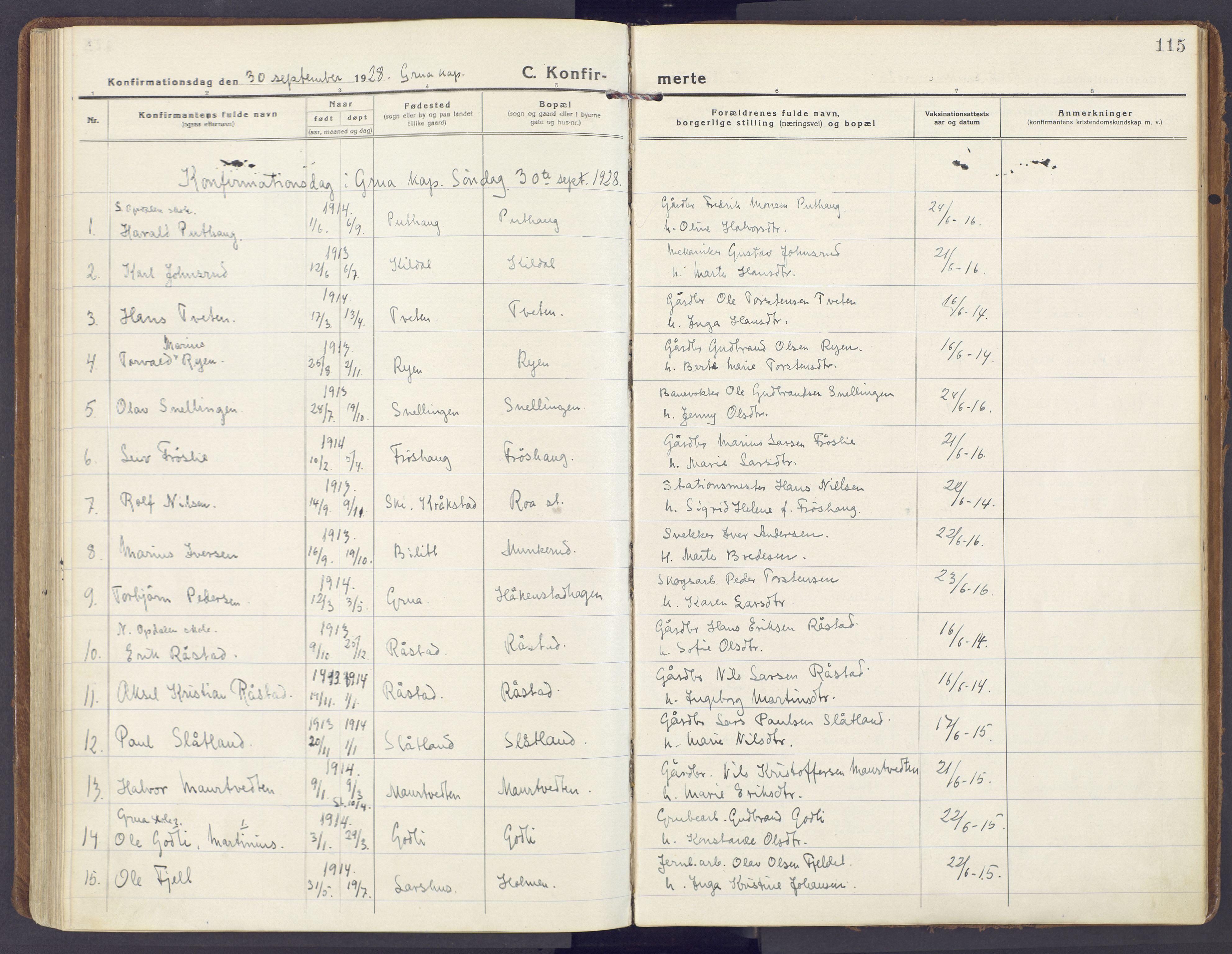 SAH, Lunner prestekontor, H/Ha/Haa/L0002: Ministerialbok nr. 2, 1922-1931, s. 115