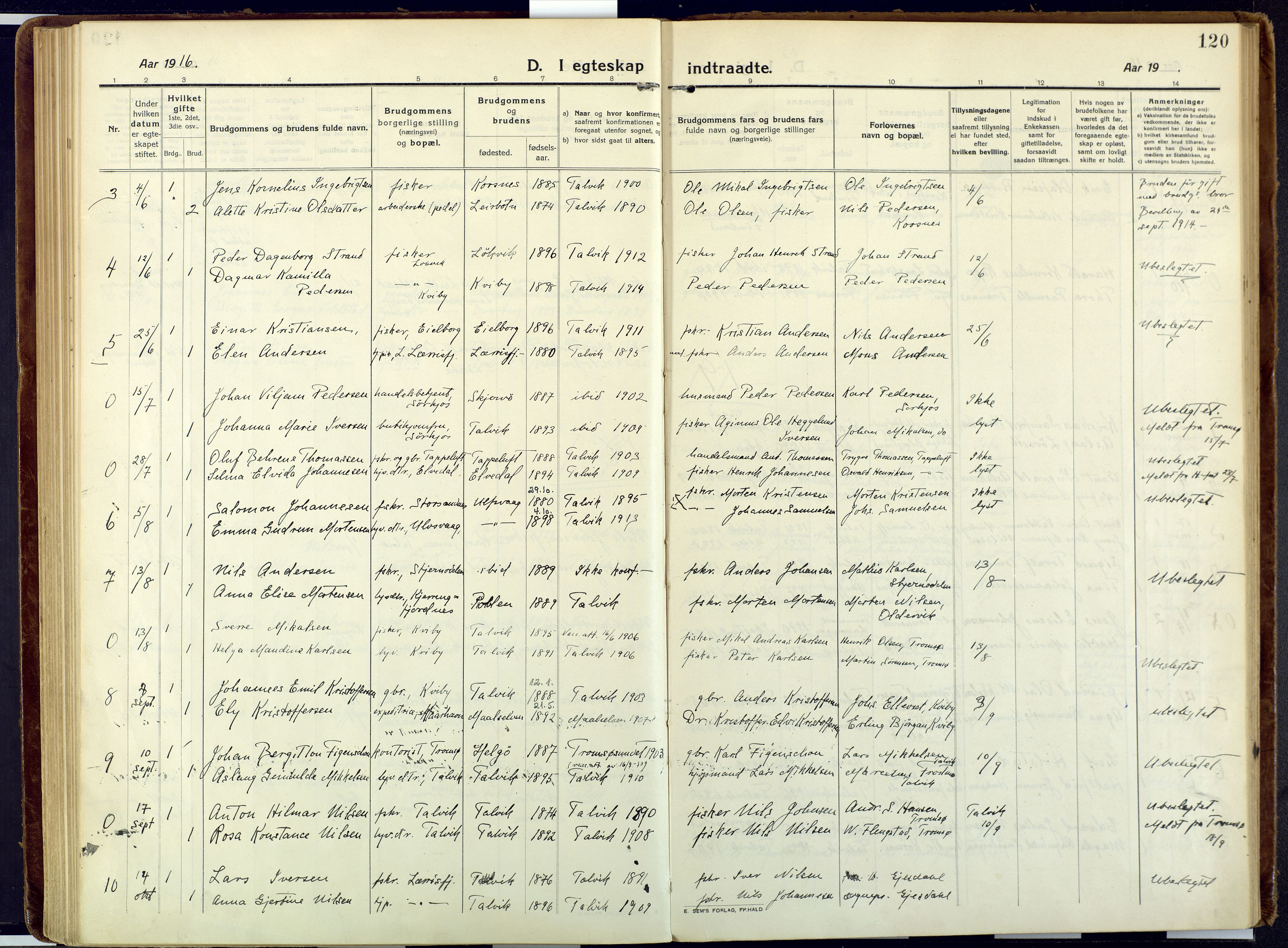 SATØ, Talvik sokneprestkontor, H/Ha/L0018kirke: Ministerialbok nr. 18, 1915-1924, s. 120