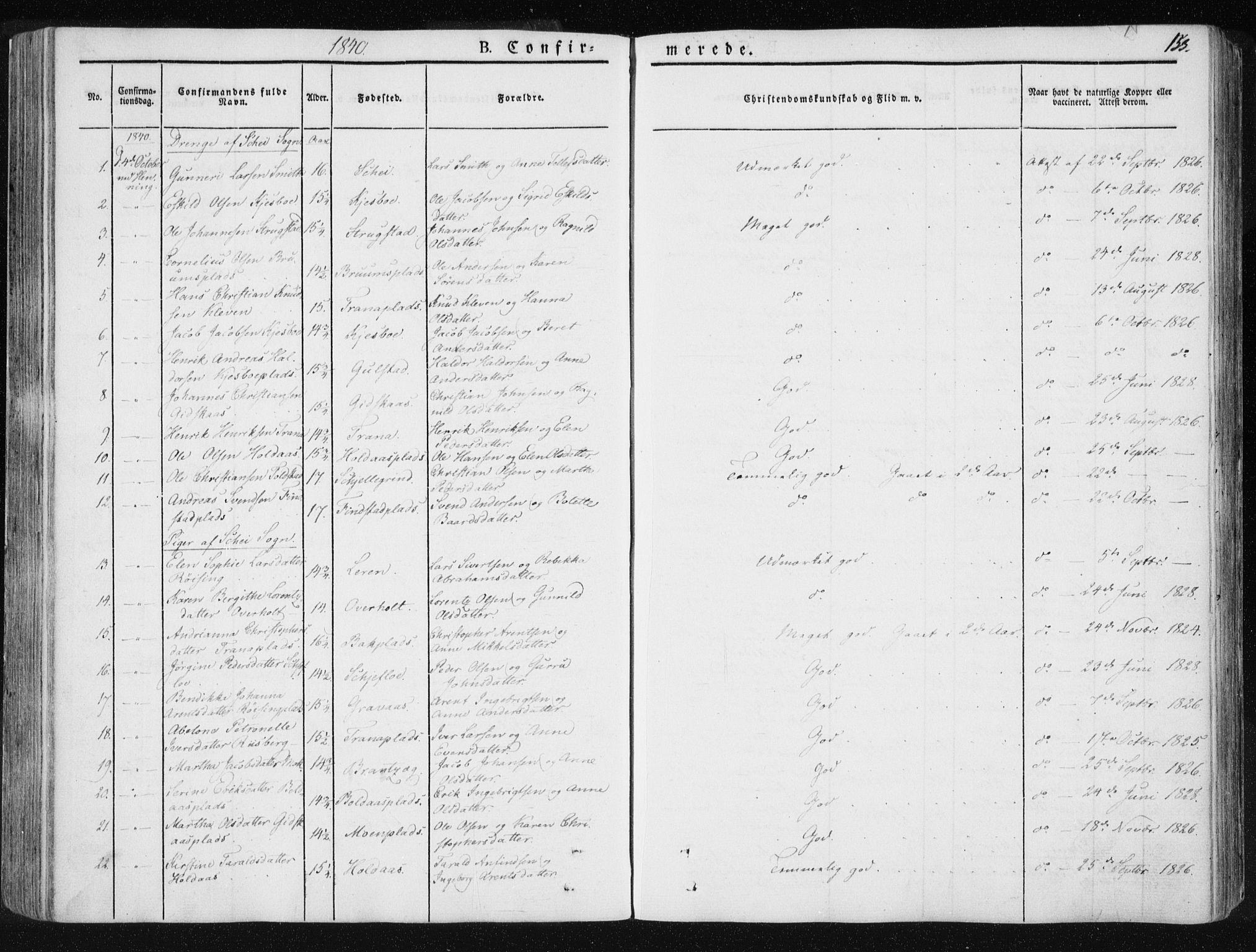 SAT, Ministerialprotokoller, klokkerbøker og fødselsregistre - Nord-Trøndelag, 735/L0339: Ministerialbok nr. 735A06 /1, 1836-1848, s. 153