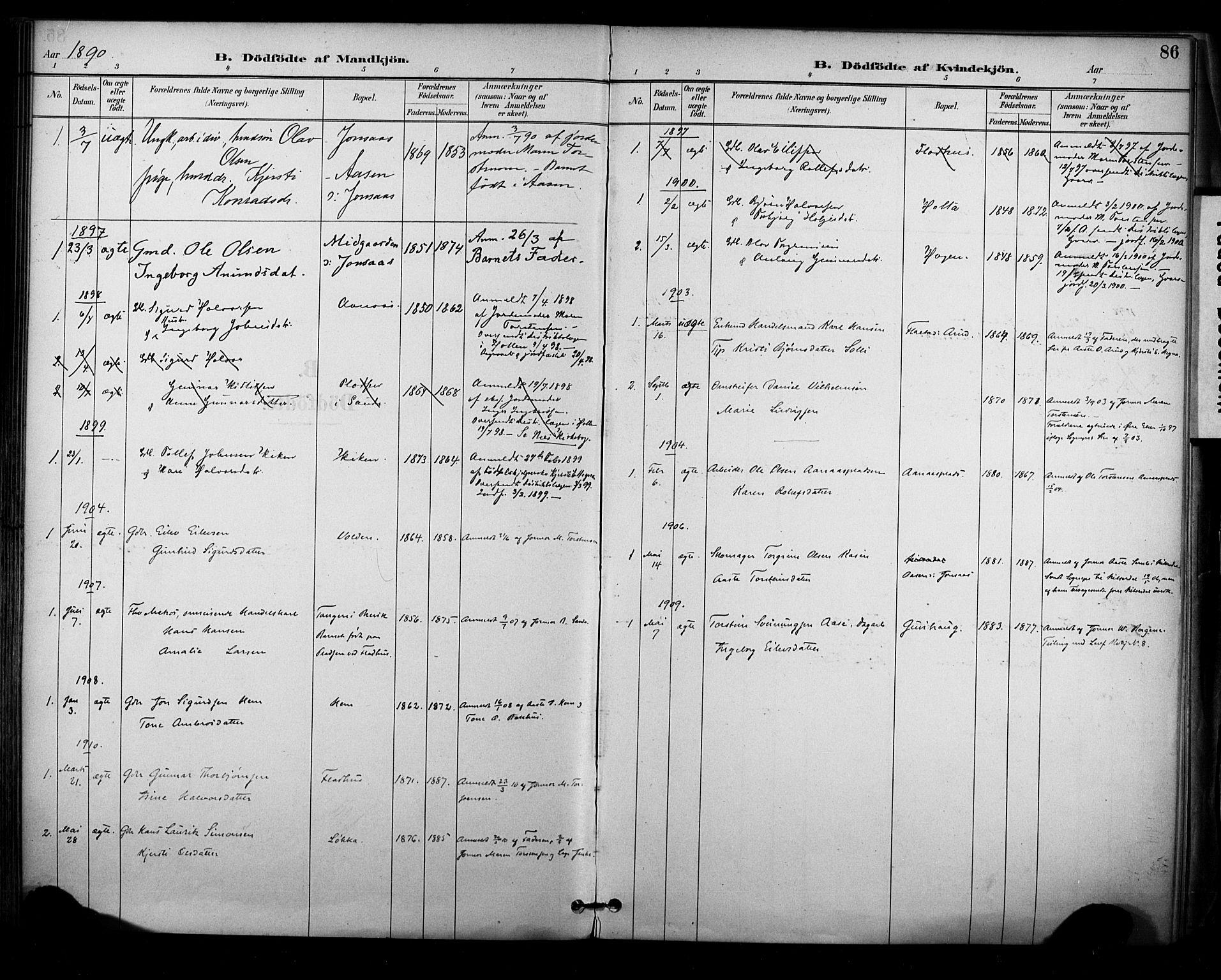 SAKO, Sauherad kirkebøker, F/Fa/L0009: Ministerialbok nr. I 9, 1887-1912, s. 86