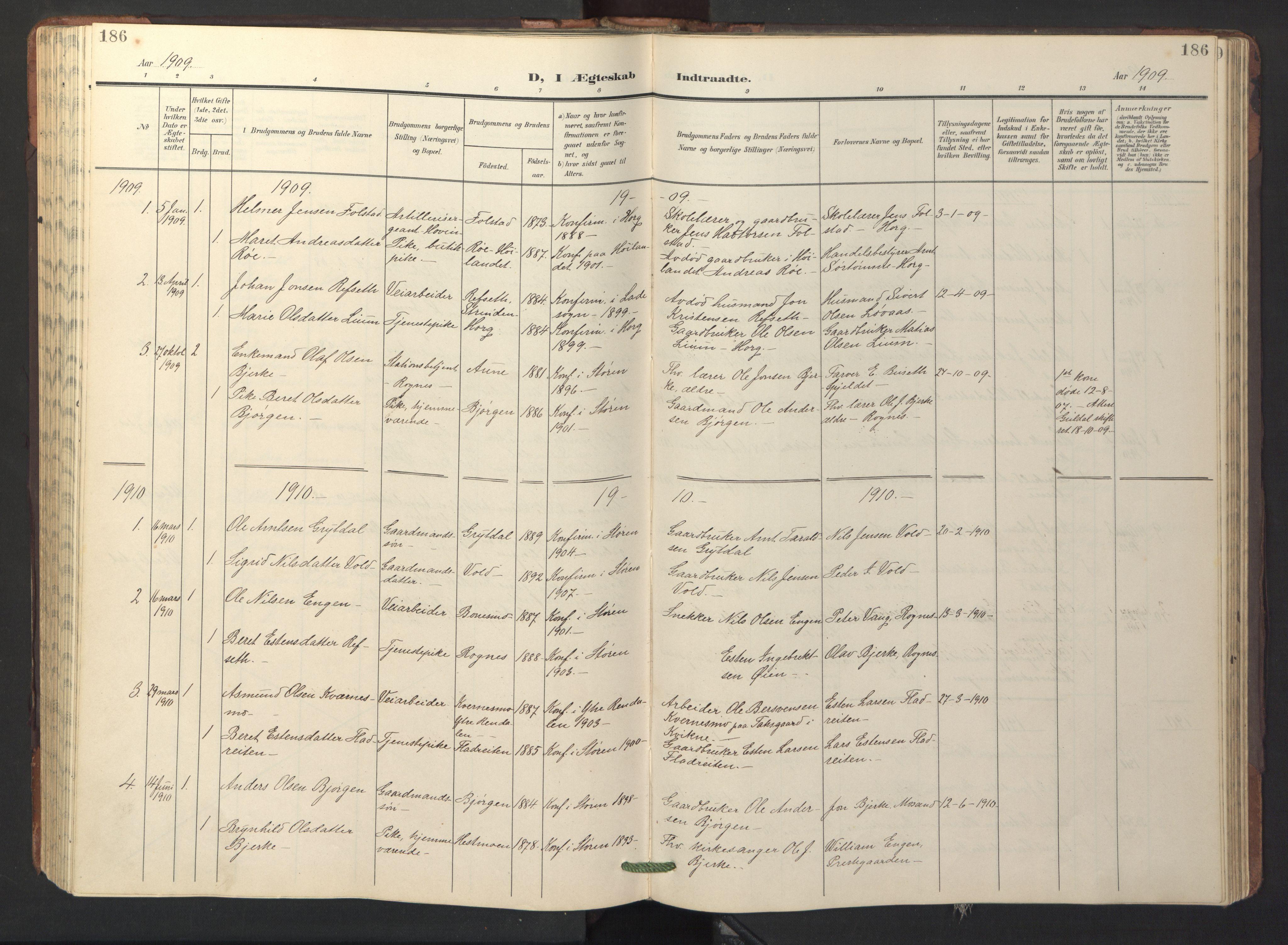 SAT, Ministerialprotokoller, klokkerbøker og fødselsregistre - Sør-Trøndelag, 687/L1019: Klokkerbok nr. 687C03, 1904-1931, s. 186