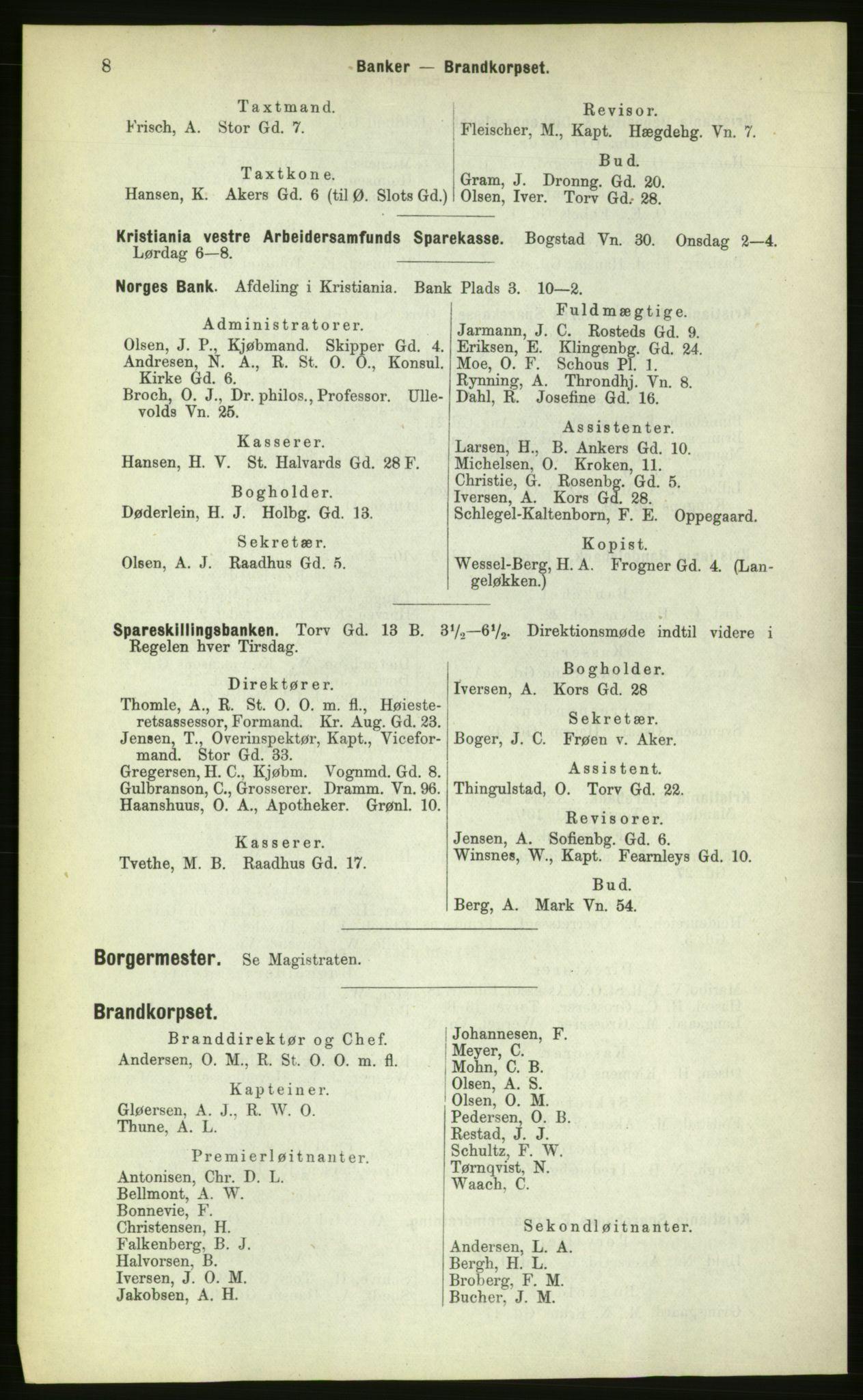 PUBL, Kristiania/Oslo adressebok, 1883, s. 8