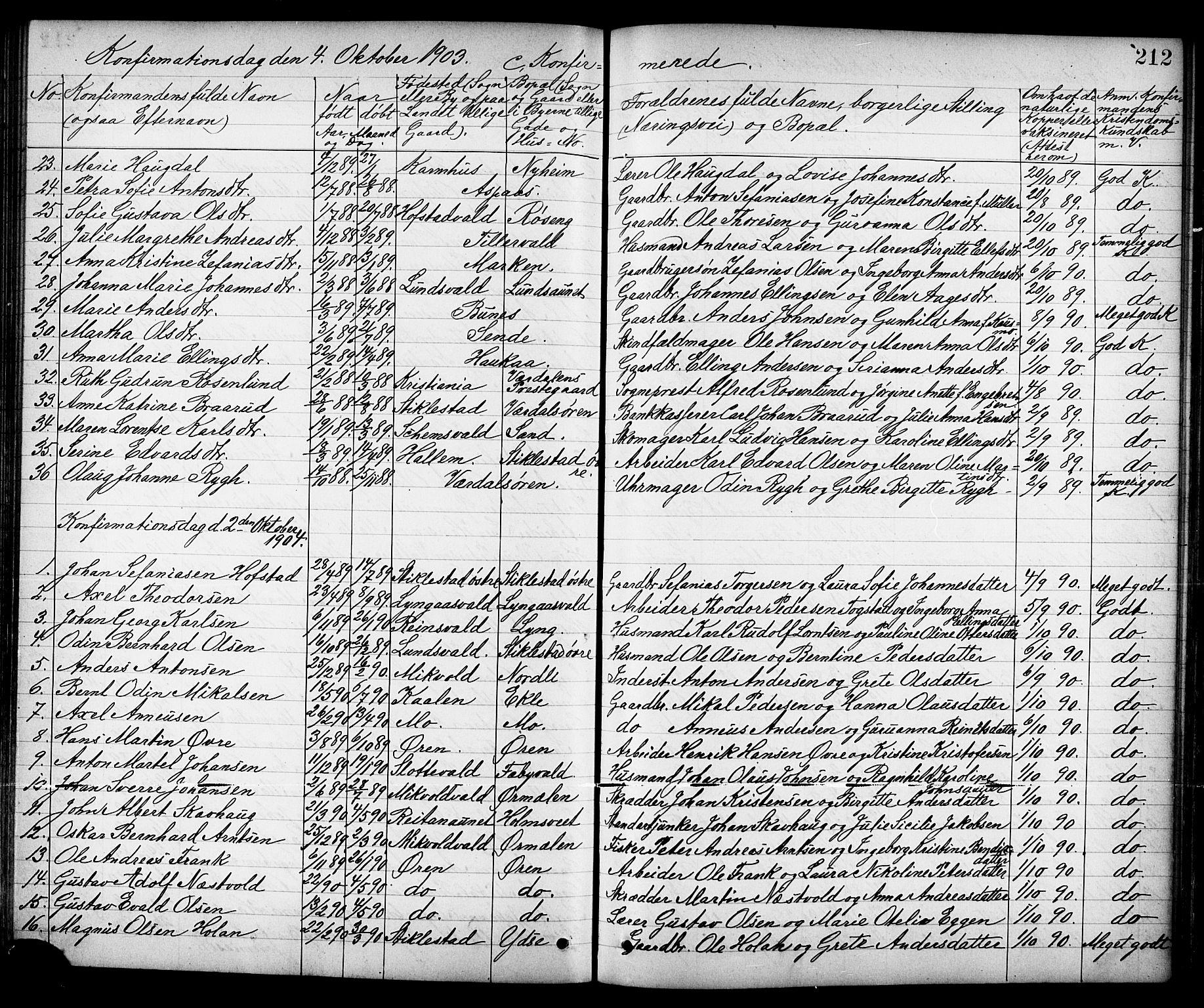 SAT, Ministerialprotokoller, klokkerbøker og fødselsregistre - Nord-Trøndelag, 723/L0257: Klokkerbok nr. 723C05, 1890-1907, s. 212