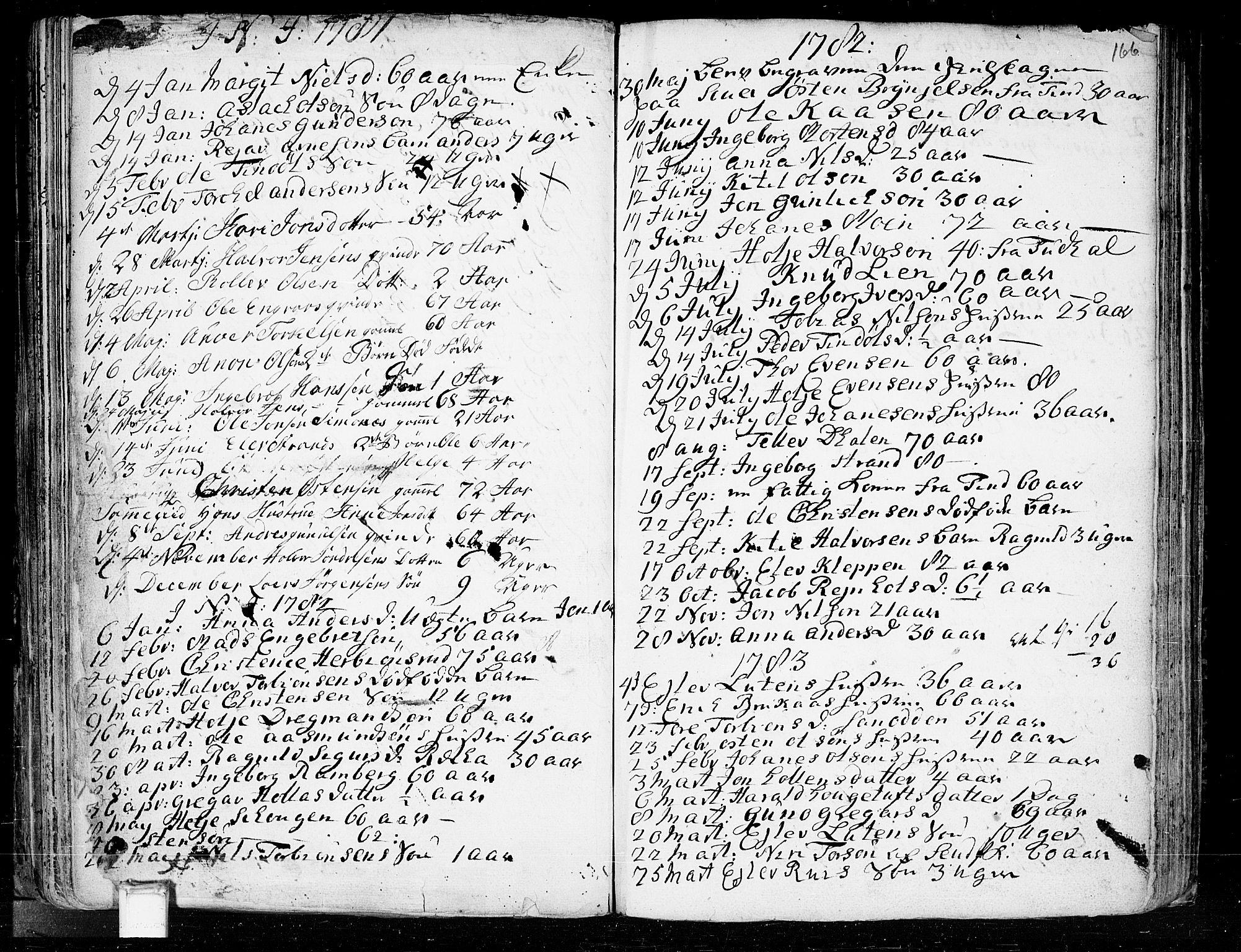 SAKO, Heddal kirkebøker, F/Fa/L0003: Ministerialbok nr. I 3, 1723-1783, s. 166