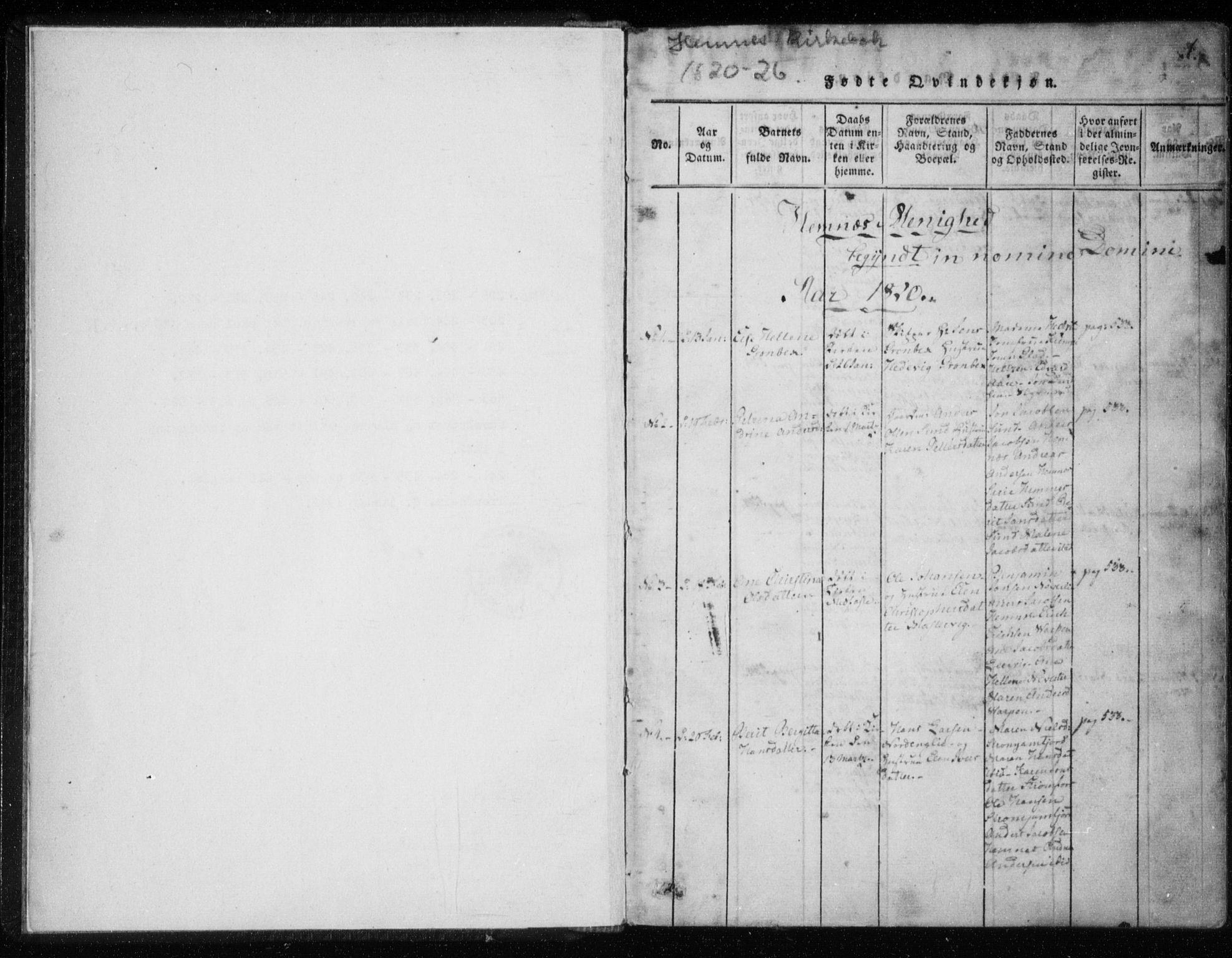 SAT, Ministerialprotokoller, klokkerbøker og fødselsregistre - Nordland, 825/L0353: Ministerialbok nr. 825A07, 1820-1826, s. 1