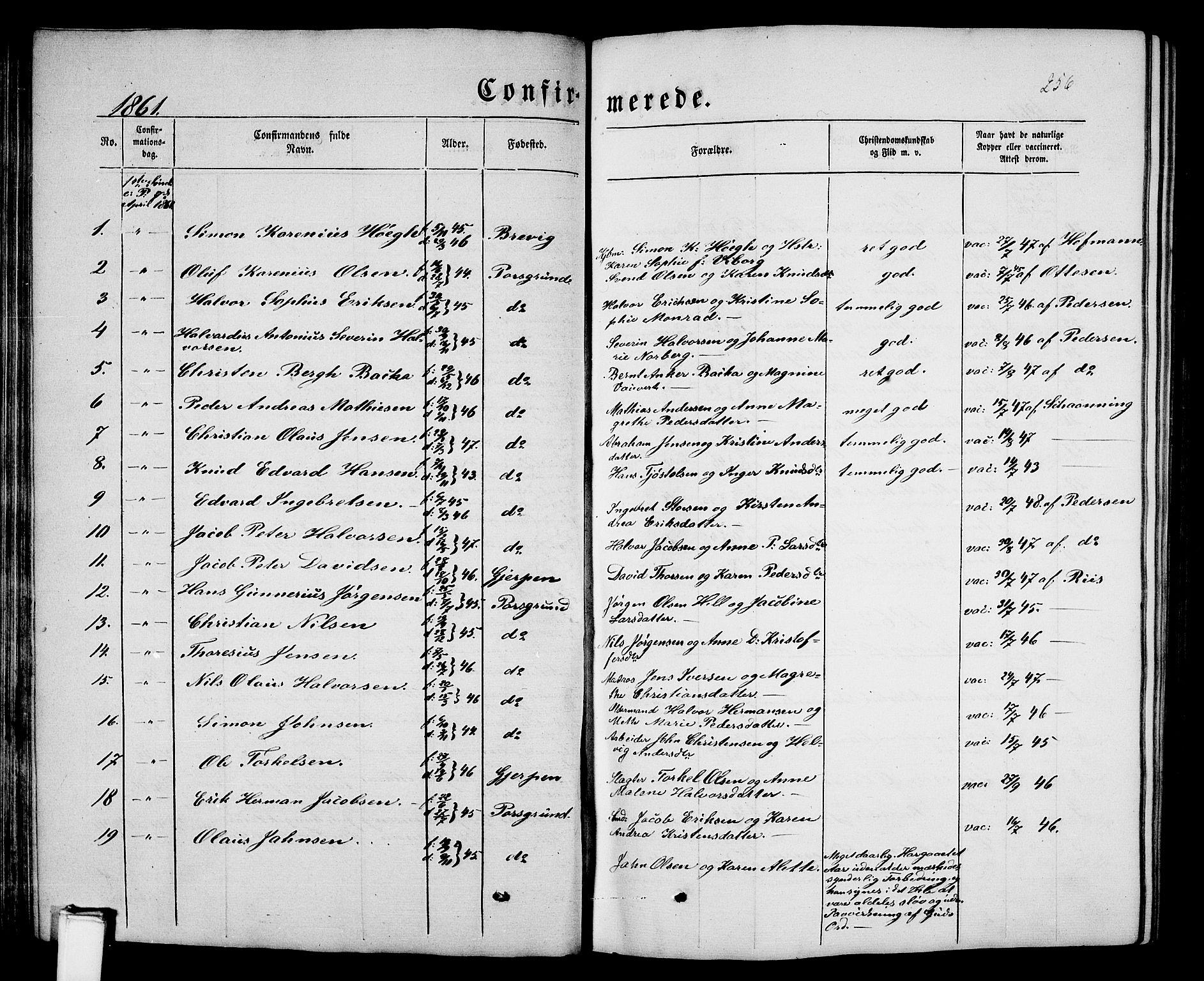 SAKO, Porsgrunn kirkebøker , G/Gb/L0004: Klokkerbok nr. II 4, 1853-1882, s. 256