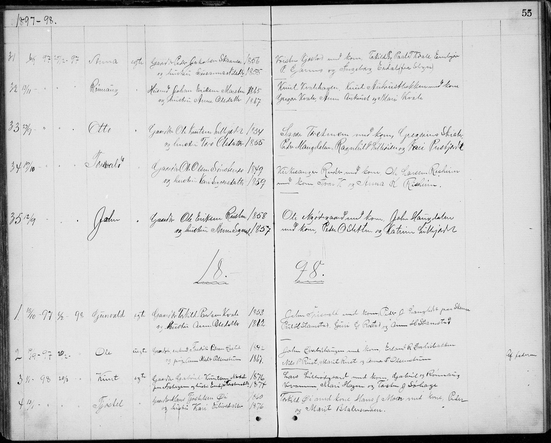 SAH, Lom prestekontor, L/L0013: Klokkerbok nr. 13, 1874-1938, s. 55