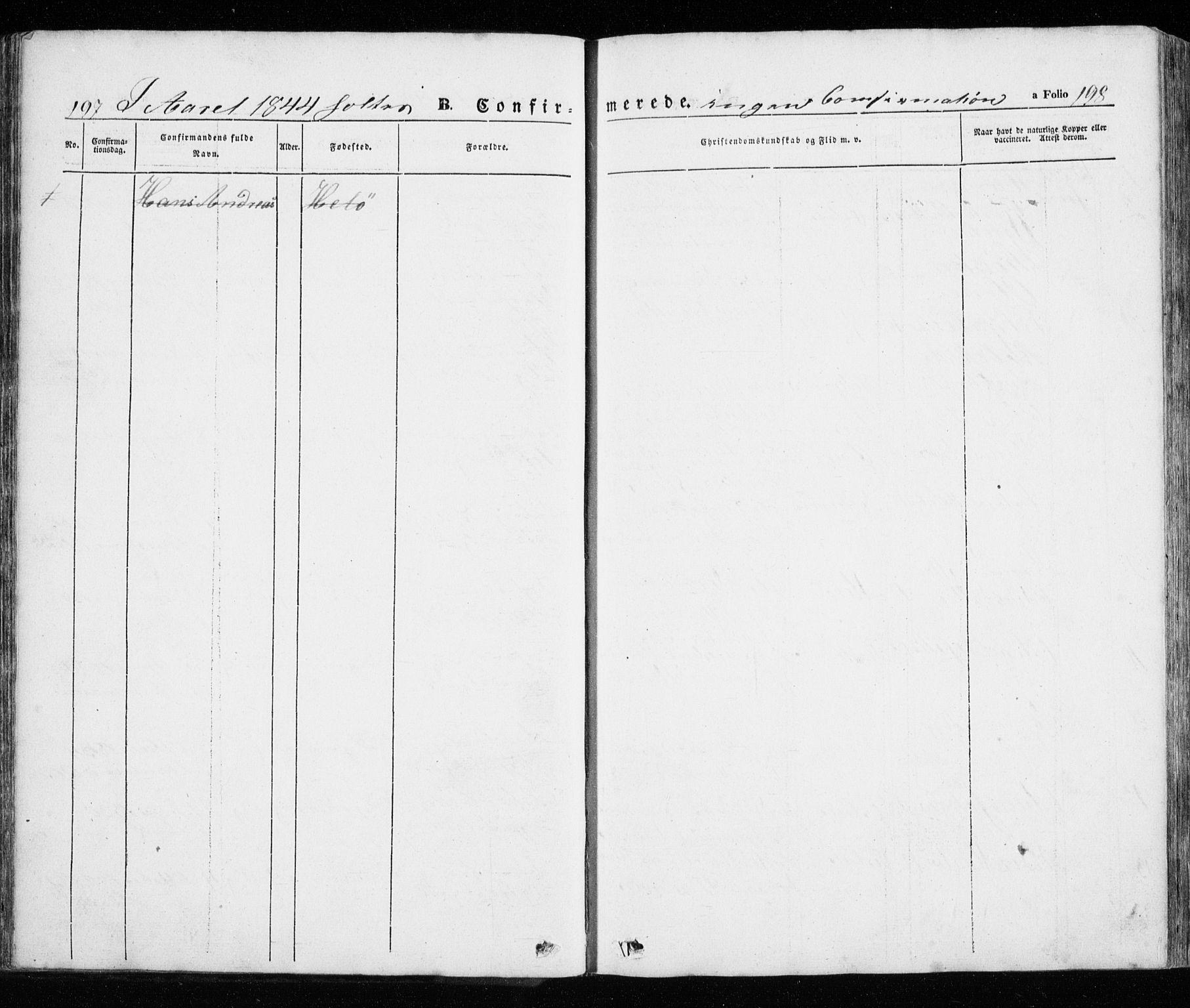 SATØ, Trondenes sokneprestkontor, H/Ha/L0010kirke: Ministerialbok nr. 10, 1840-1865, s. 197-198