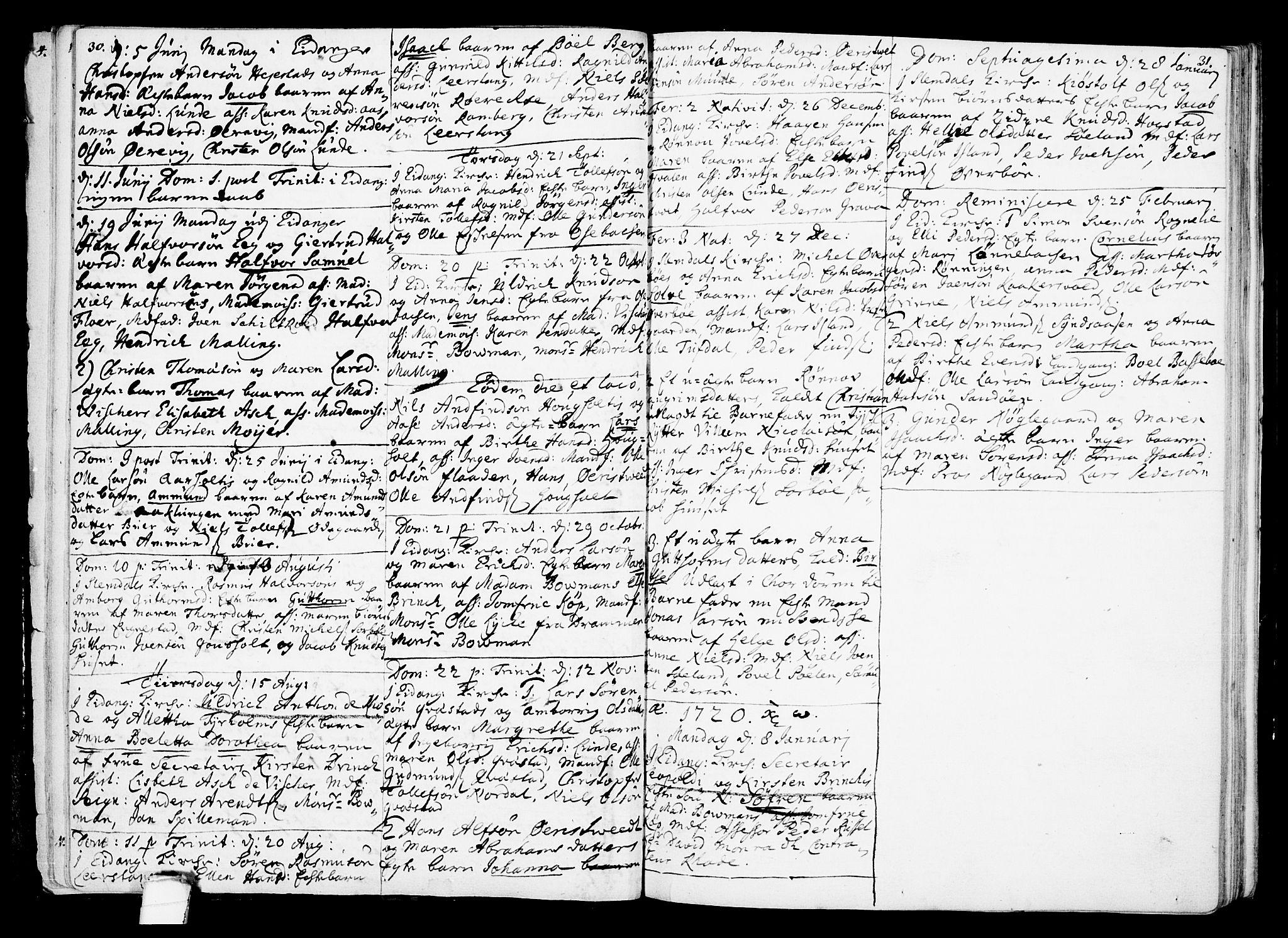 SAKO, Eidanger kirkebøker, F/Fa/L0002: Ministerialbok nr. 2, 1712-1720, s. 30-31