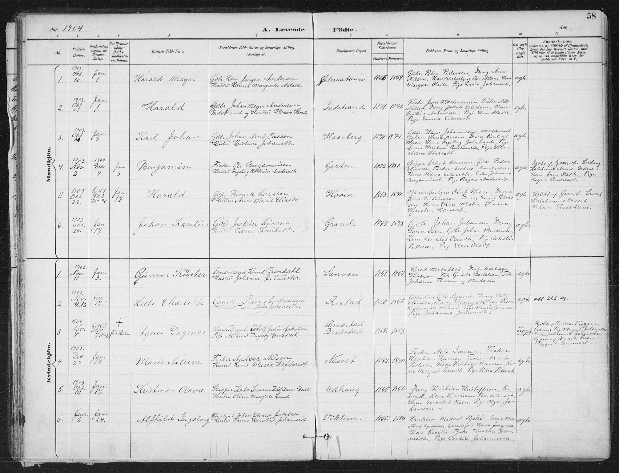 SAT, Ministerialprotokoller, klokkerbøker og fødselsregistre - Sør-Trøndelag, 659/L0743: Ministerialbok nr. 659A13, 1893-1910, s. 58