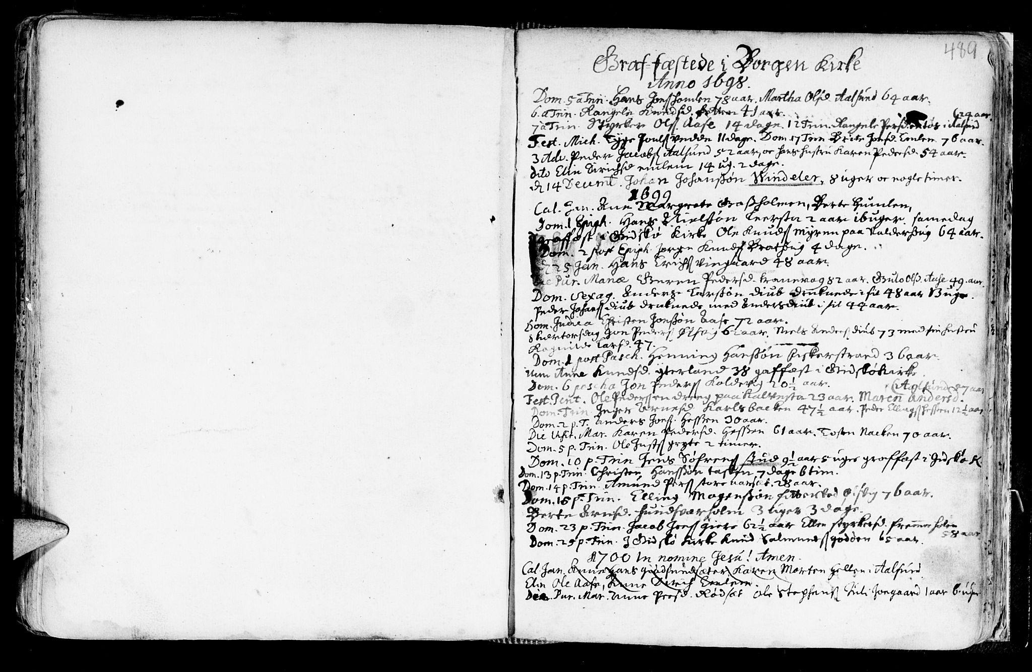 SAT, Ministerialprotokoller, klokkerbøker og fødselsregistre - Møre og Romsdal, 528/L0390: Ministerialbok nr. 528A01, 1698-1739, s. 488-489