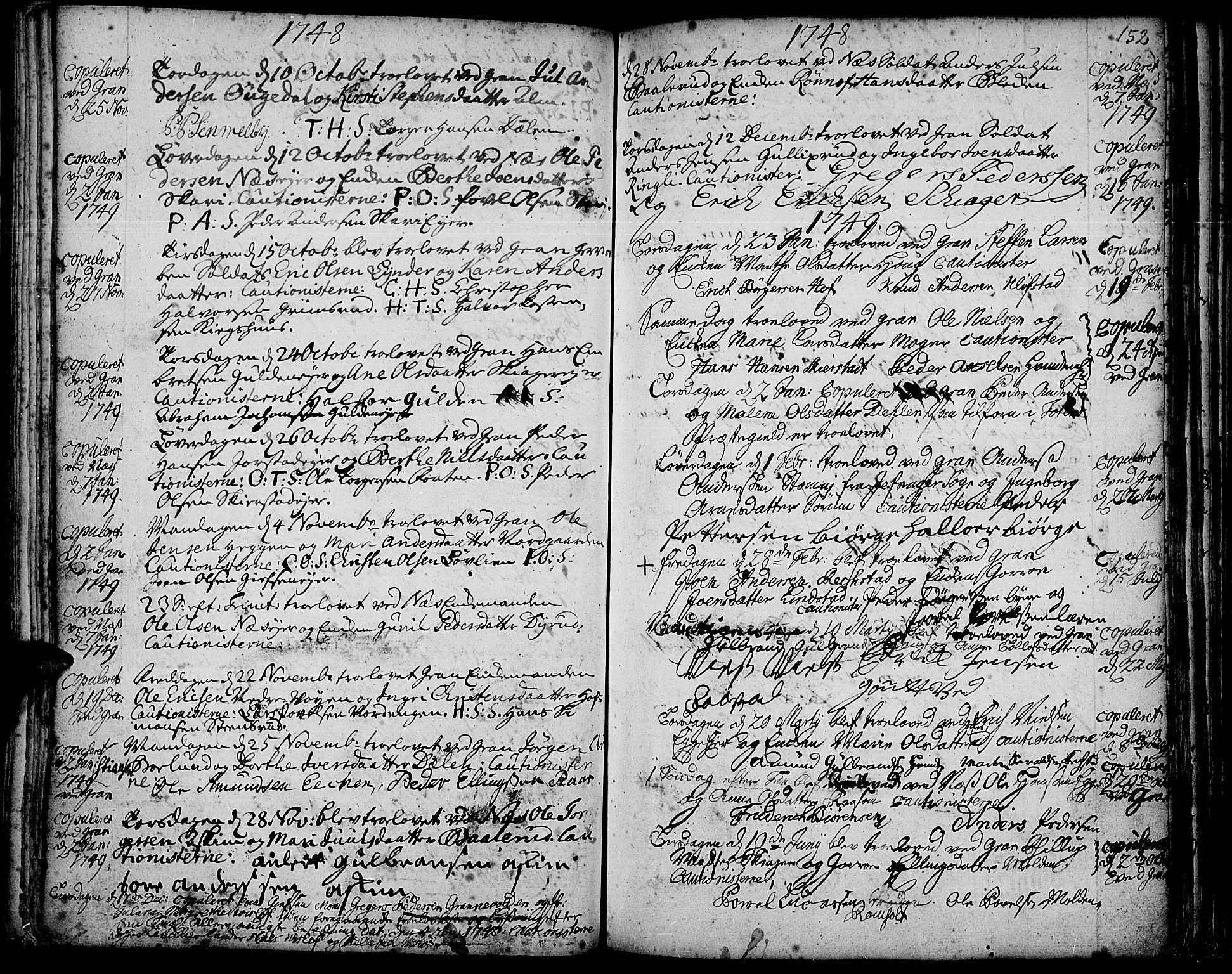 SAH, Gran prestekontor, Ministerialbok nr. 3, 1745-1758, s. 152