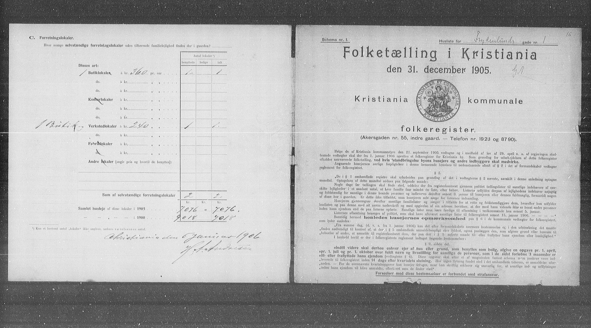 OBA, Kommunal folketelling 1905 for Kristiania kjøpstad, 1905, s. 14468
