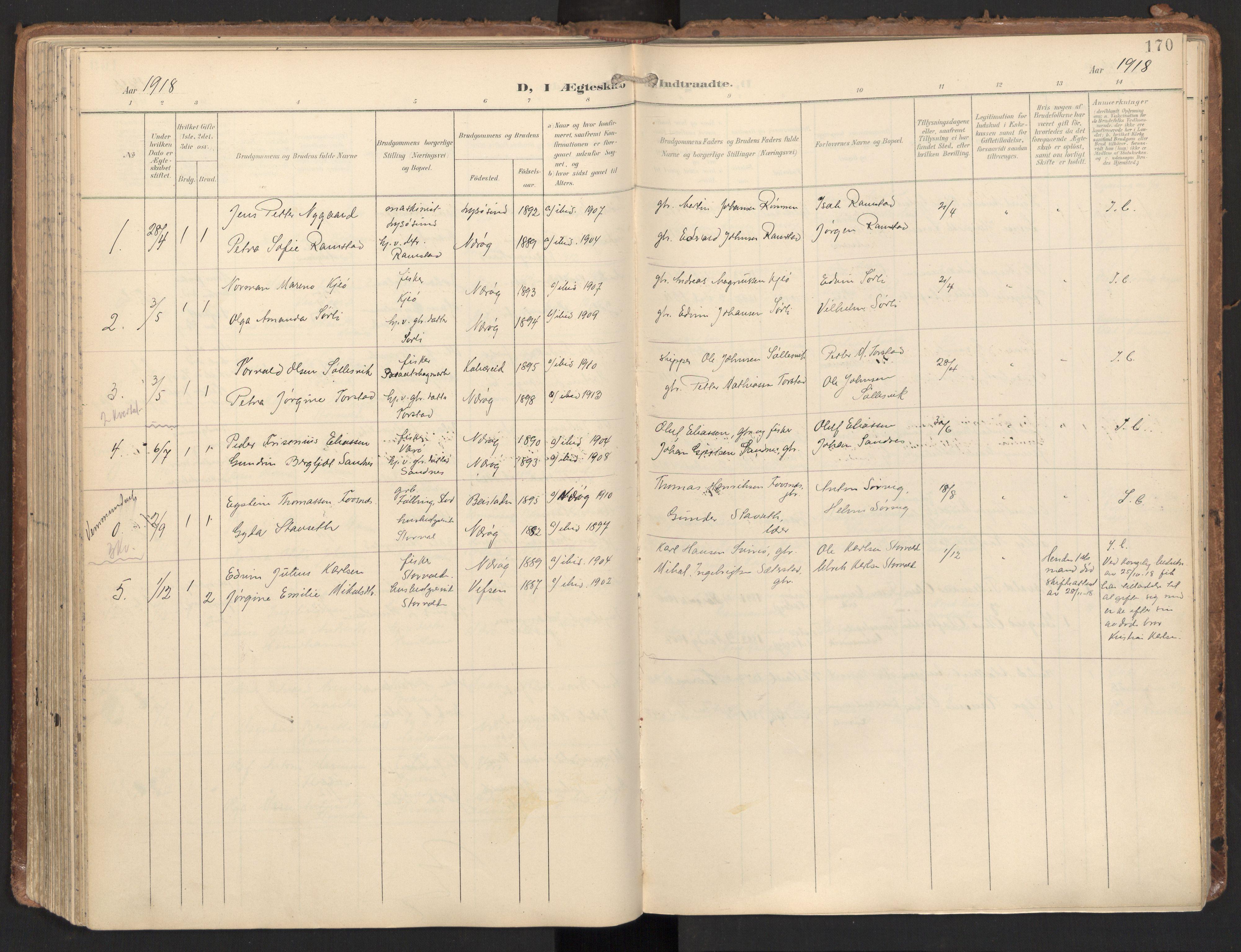 SAT, Ministerialprotokoller, klokkerbøker og fødselsregistre - Nord-Trøndelag, 784/L0677: Ministerialbok nr. 784A12, 1900-1920, s. 170