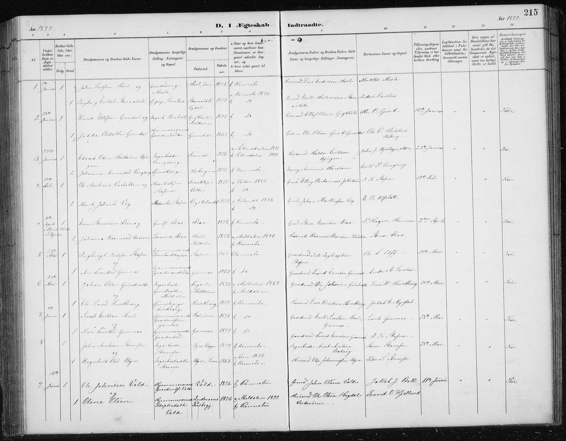 SAT, Ministerialprotokoller, klokkerbøker og fødselsregistre - Sør-Trøndelag, 674/L0876: Klokkerbok nr. 674C03, 1892-1912, s. 215