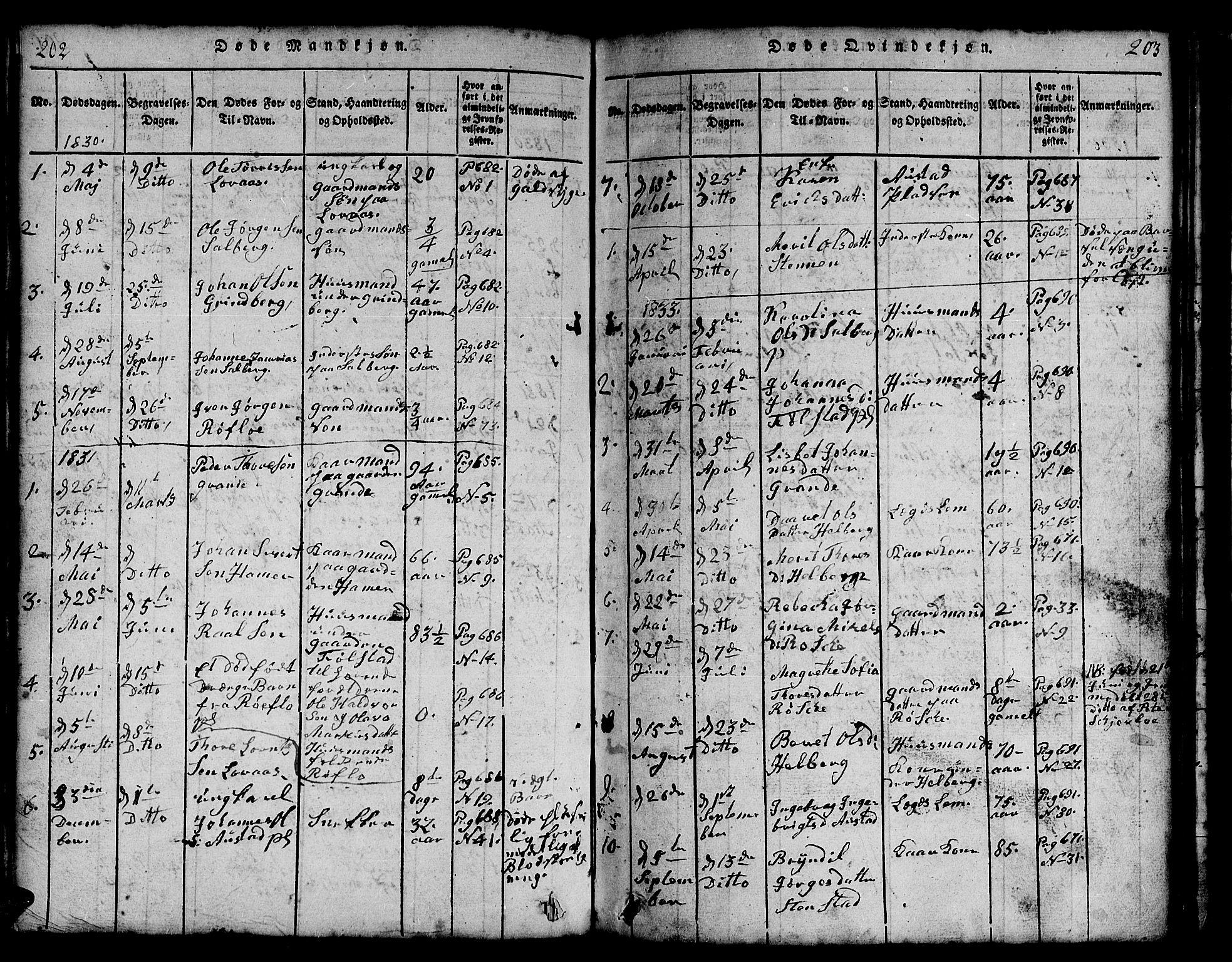 SAT, Ministerialprotokoller, klokkerbøker og fødselsregistre - Nord-Trøndelag, 731/L0310: Klokkerbok nr. 731C01, 1816-1874, s. 202-203