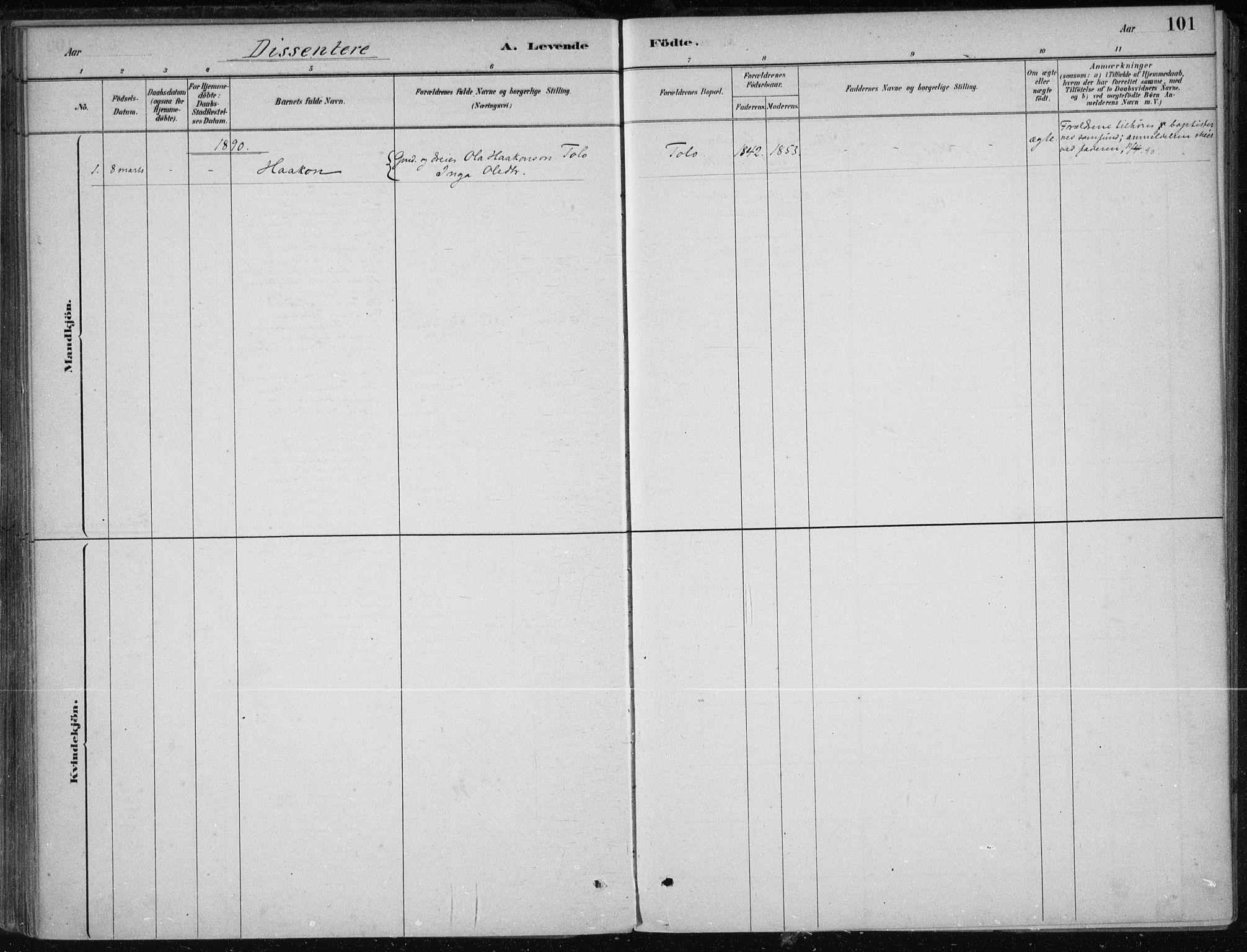 SAB, Kvam sokneprestembete, H/Haa: Ministerialbok nr. B  1, 1880-1908, s. 101