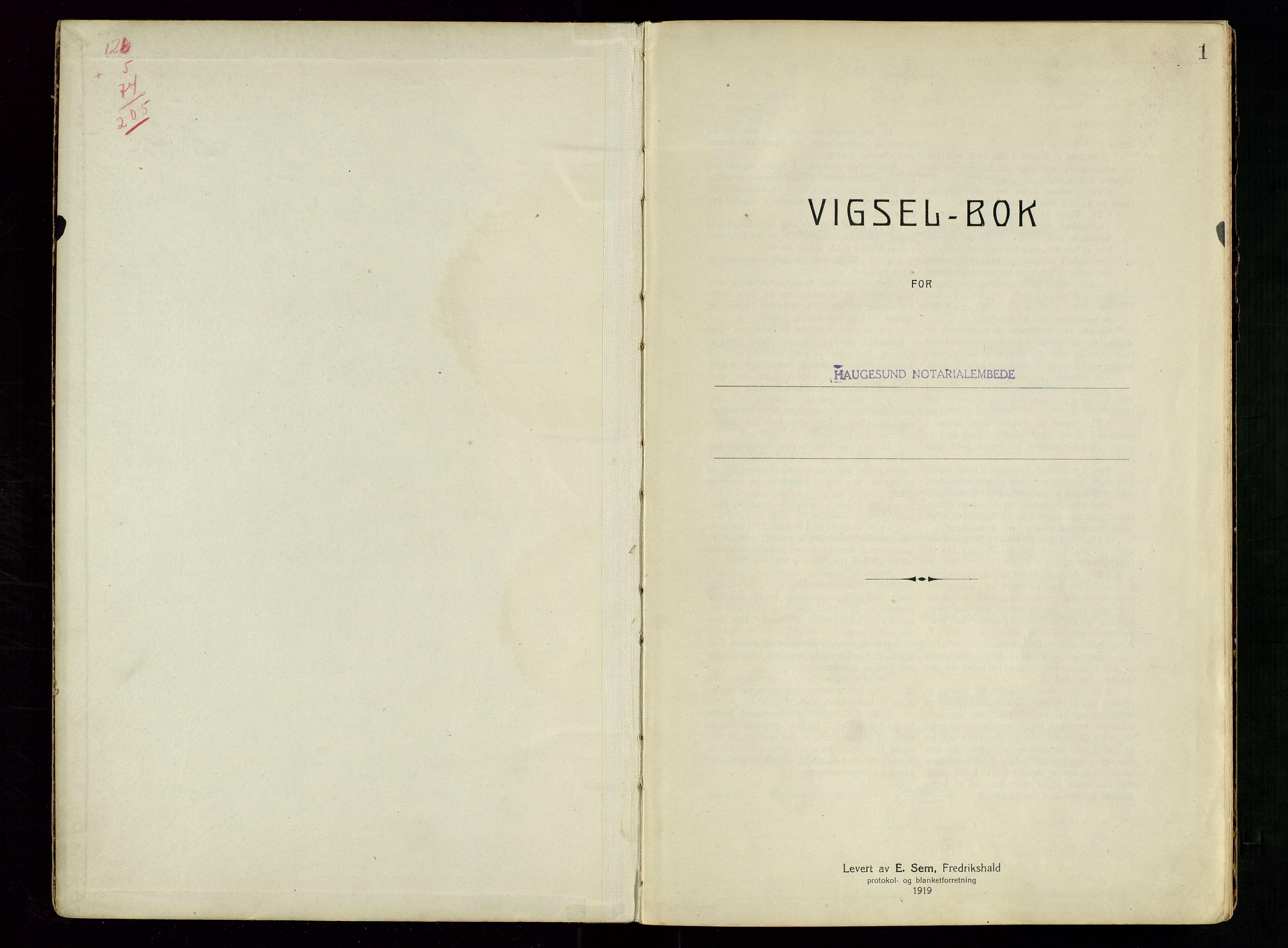 SAST, Haugesund tingrett, III/IIID/L0002: Vigselbok, 1938-1942, s. 1