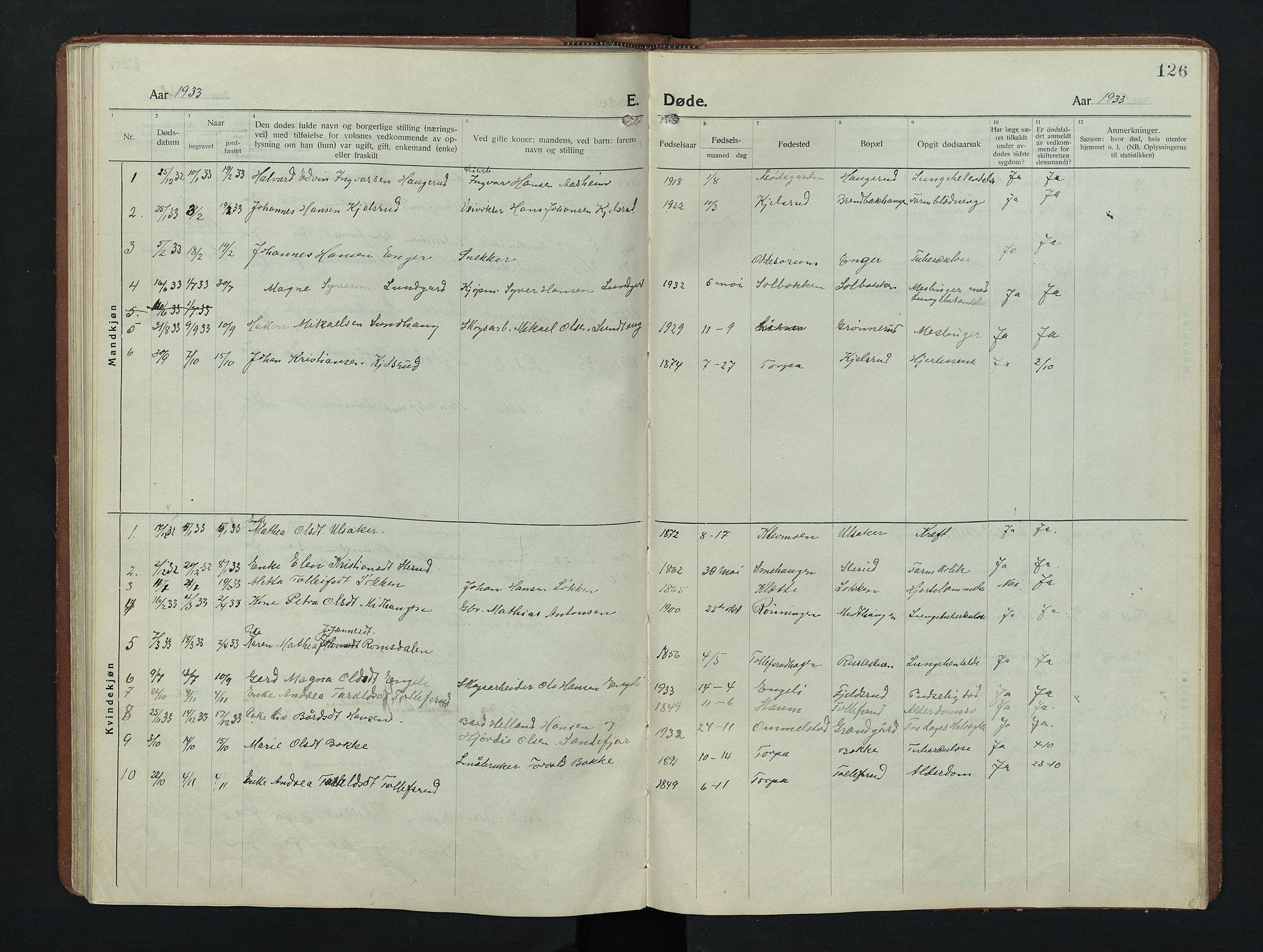 SAH, Nordre Land prestekontor, Klokkerbok nr. 9, 1921-1956, s. 126