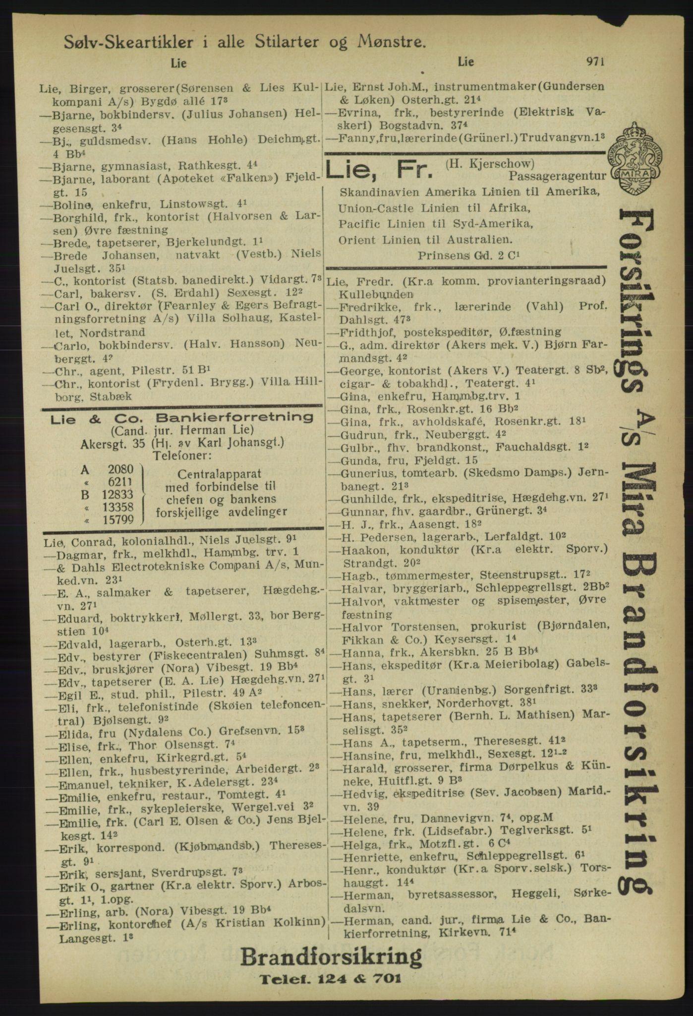 RA, Kristiania adressebok (publikasjon)*, 1918, s. 996