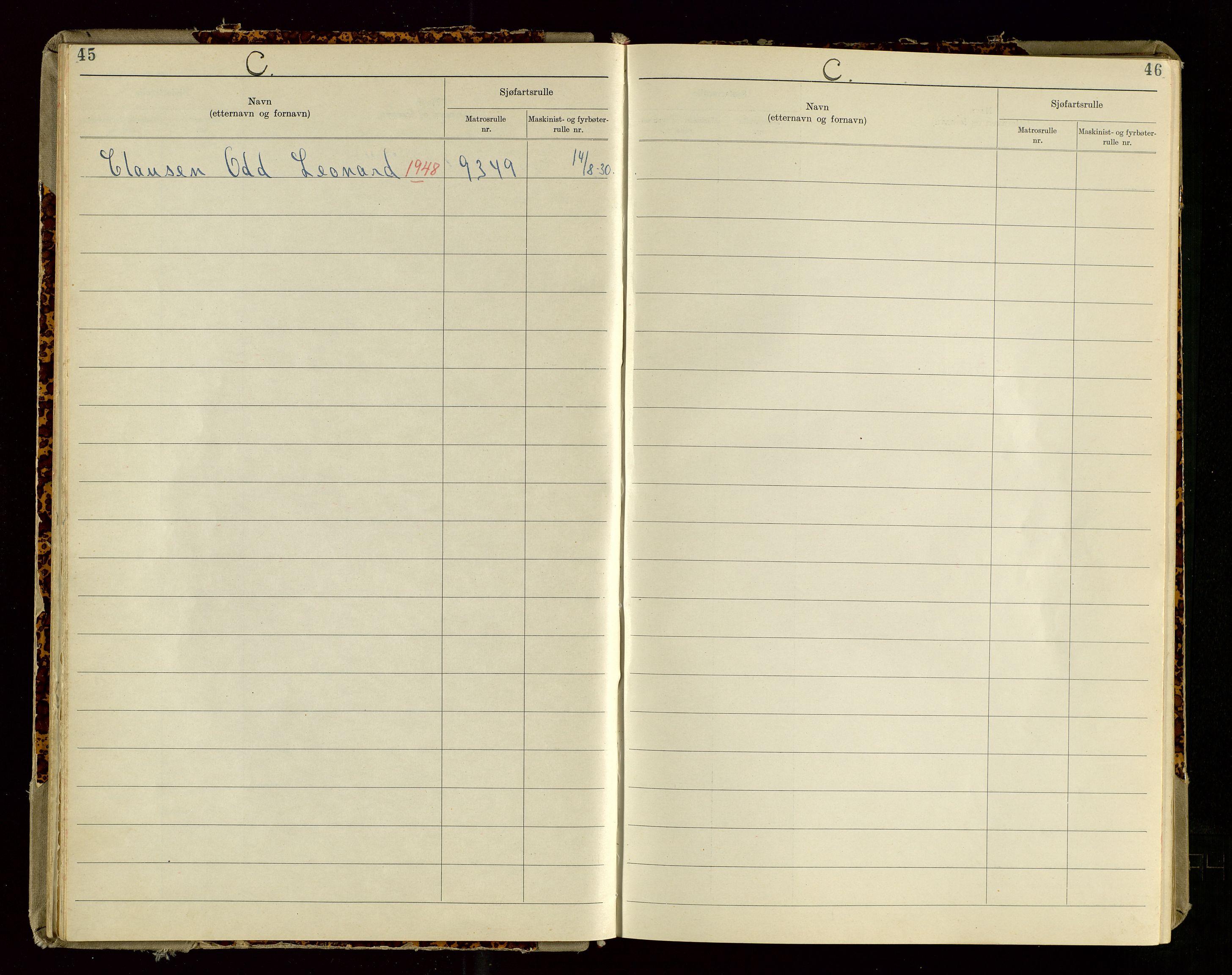 SAST, Haugesund sjømannskontor, F/Fb/Fba/L0007: Navneregister med henvisning til rullenummer (etternavn) Haugesund krets , 1944, s. 45
