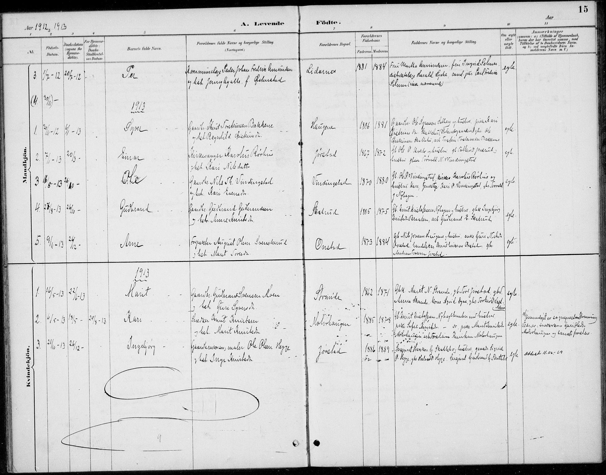 SAH, Øystre Slidre prestekontor, Ministerialbok nr. 5, 1887-1916, s. 15