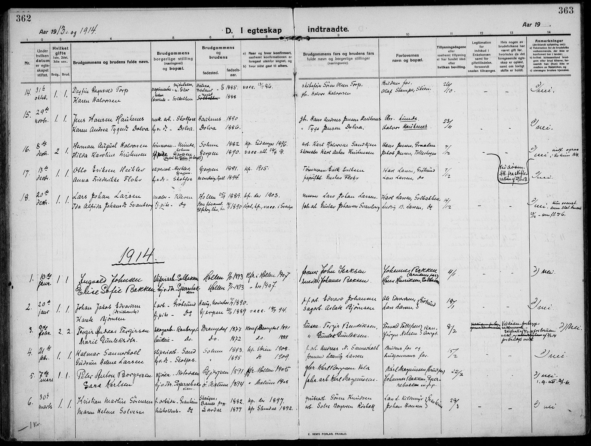 SAKO, Solum kirkebøker, F/Fb/L0004: Ministerialbok nr. II 4, 1913-1924, s. 362-363