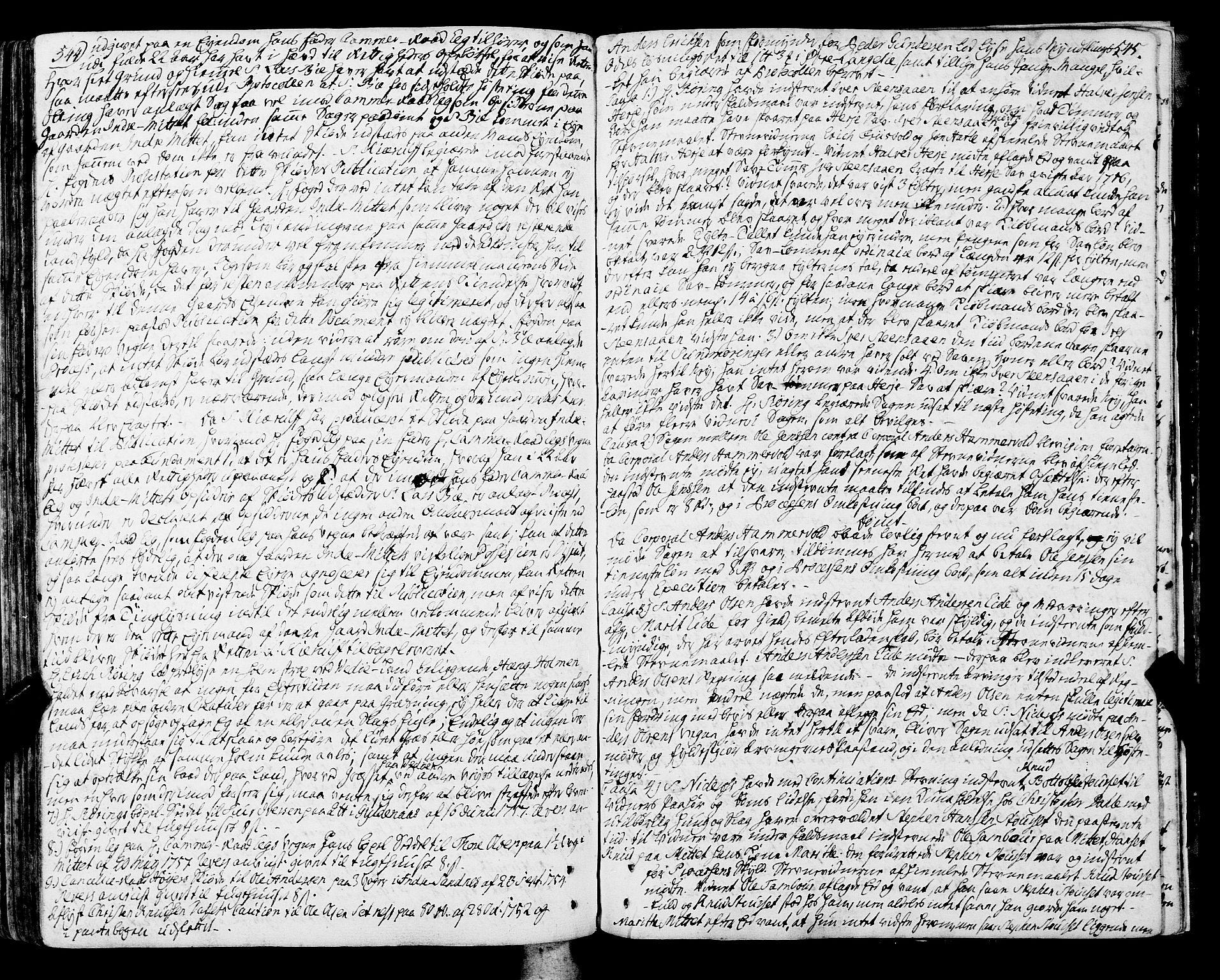SAT, Romsdal sorenskriveri, 1/1A/L0013: Tingbok, 1749-1757, s. 544-545