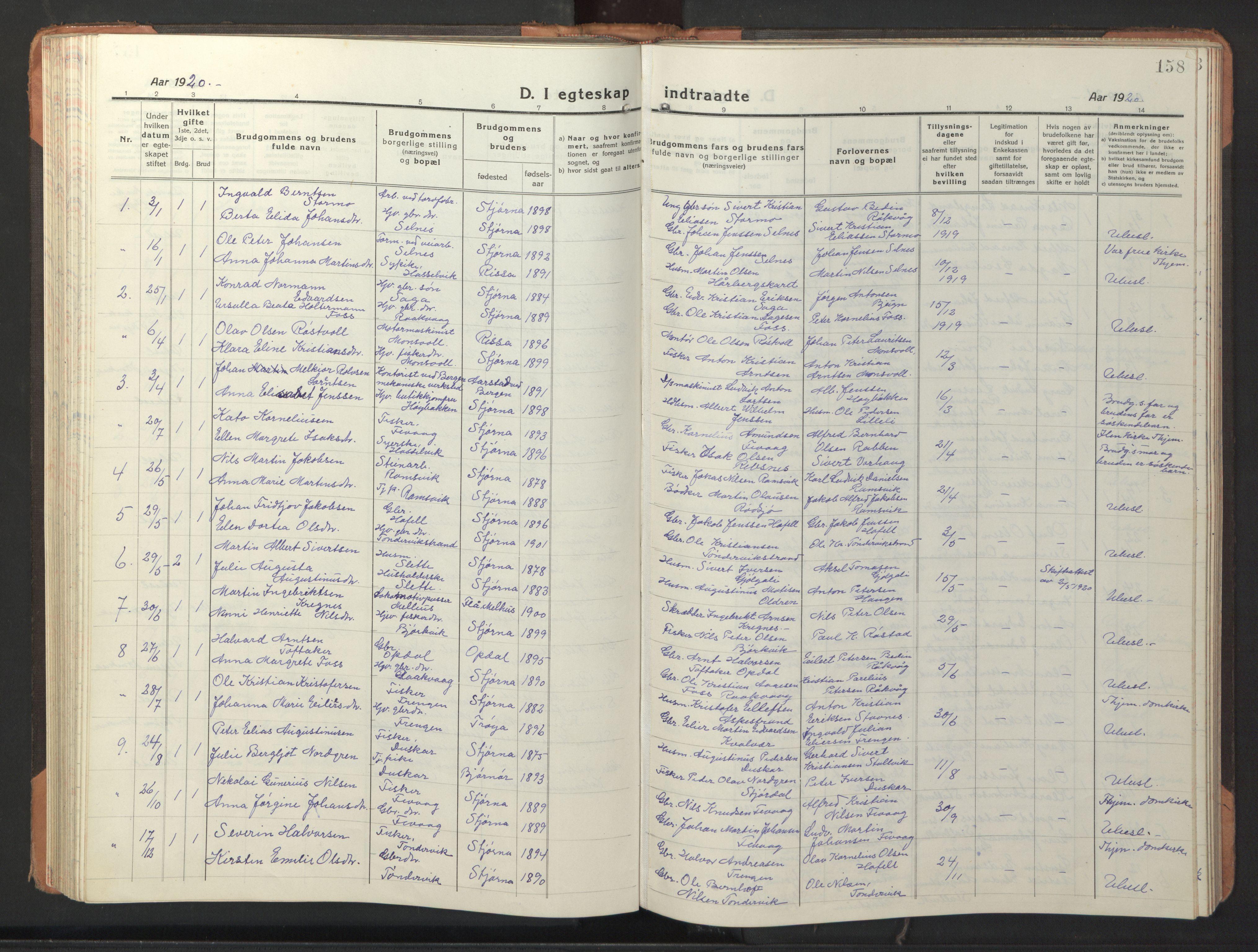 SAT, Ministerialprotokoller, klokkerbøker og fødselsregistre - Sør-Trøndelag, 653/L0658: Klokkerbok nr. 653C02, 1919-1947, s. 158