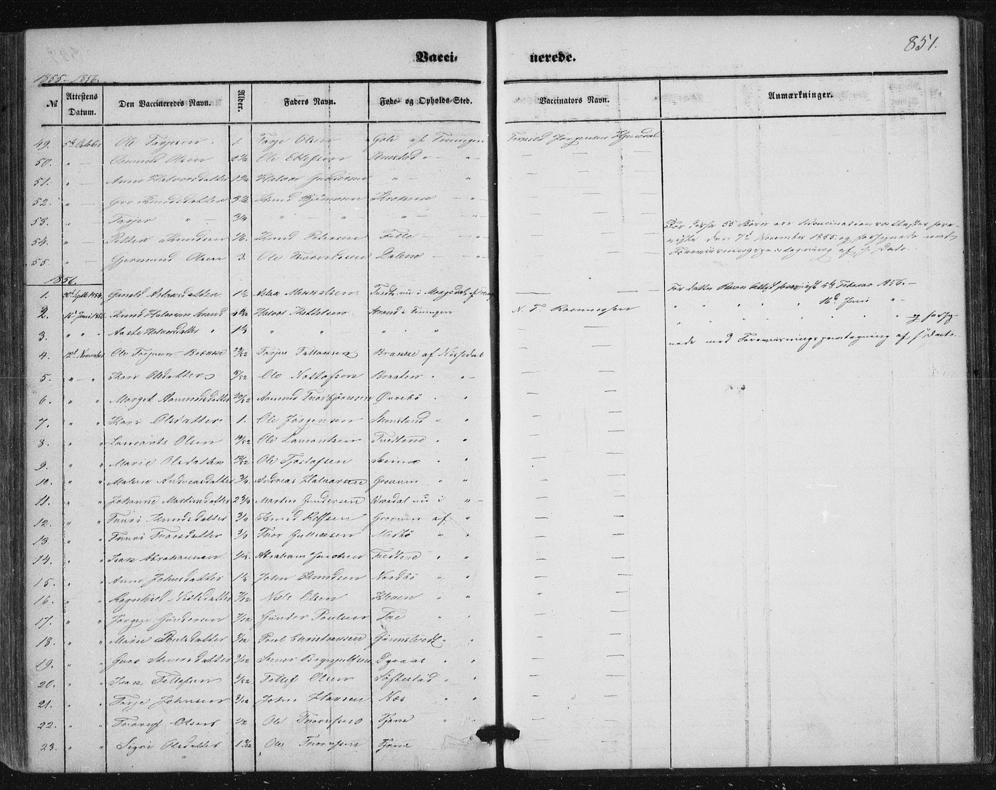 SAKO, Nissedal kirkebøker, F/Fa/L0003: Ministerialbok nr. I 3, 1846-1870, s. 850-851