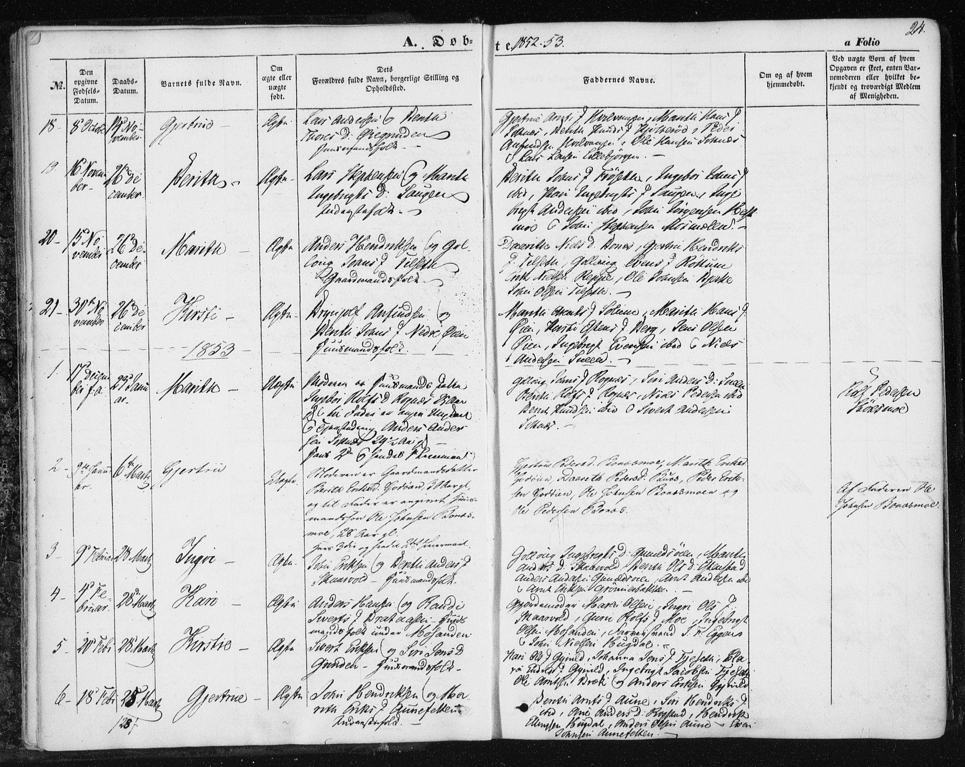 SAT, Ministerialprotokoller, klokkerbøker og fødselsregistre - Sør-Trøndelag, 687/L1000: Ministerialbok nr. 687A06, 1848-1869, s. 24