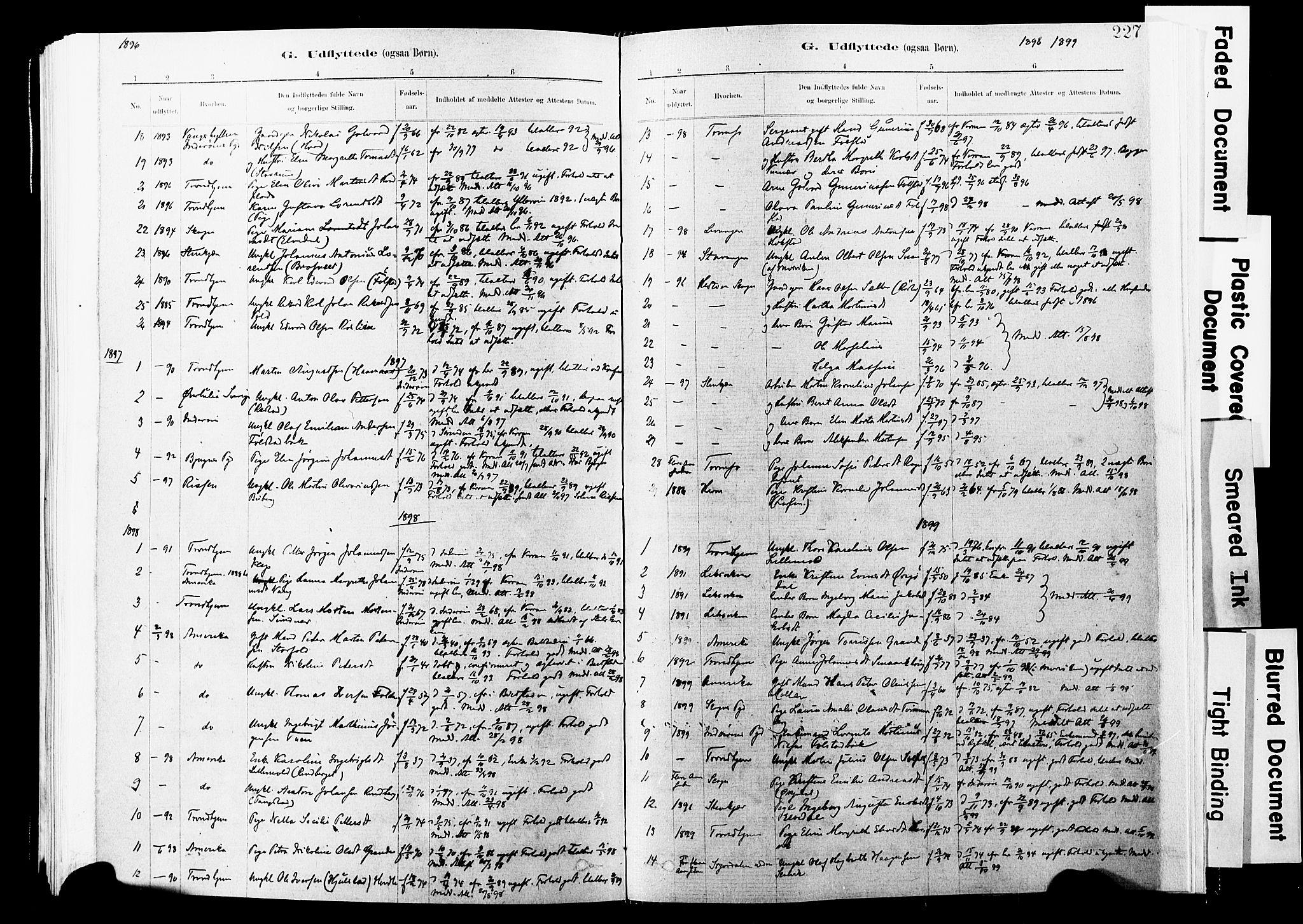 SAT, Ministerialprotokoller, klokkerbøker og fødselsregistre - Nord-Trøndelag, 744/L0420: Ministerialbok nr. 744A04, 1882-1904, s. 227