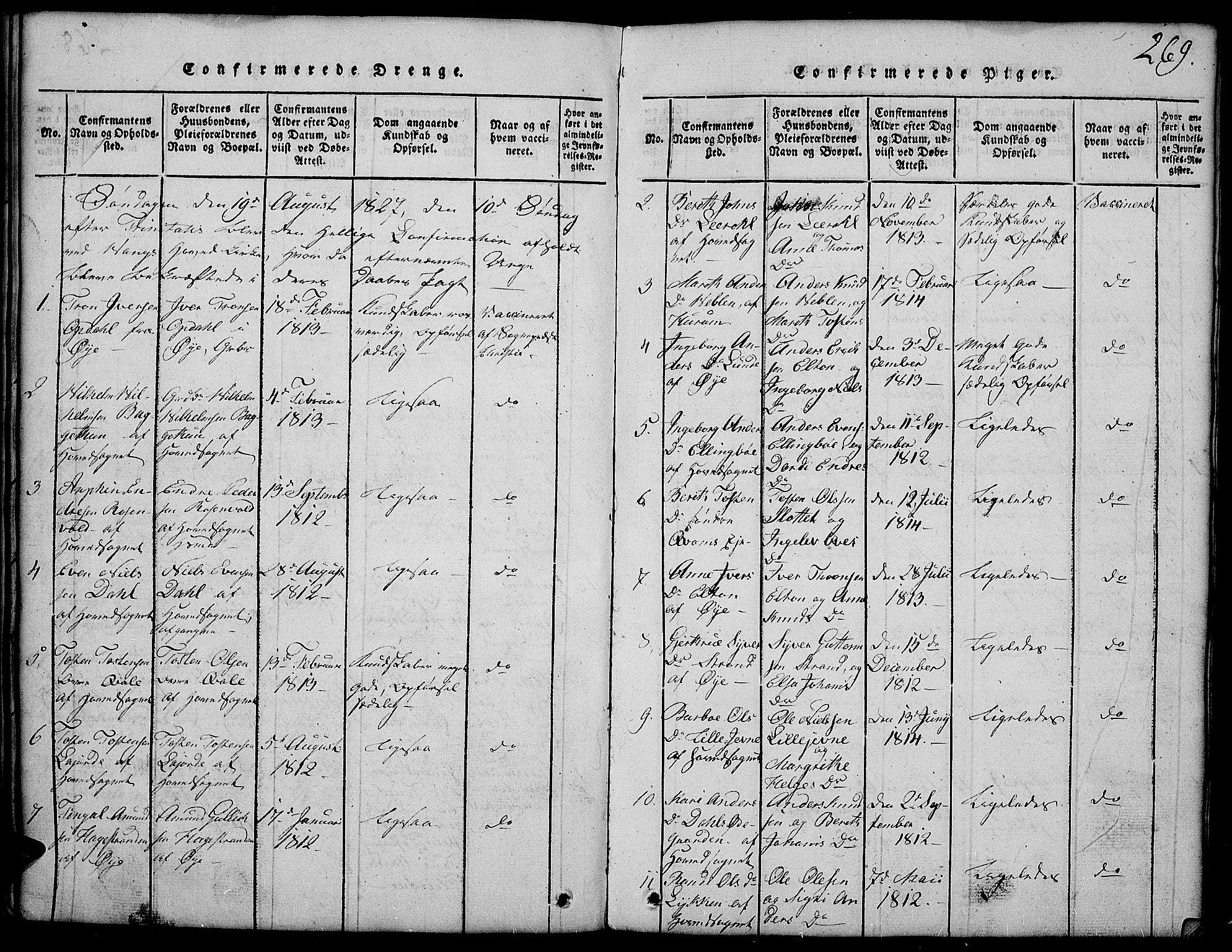 SAH, Vang prestekontor, Valdres, Klokkerbok nr. 2, 1814-1889, s. 269