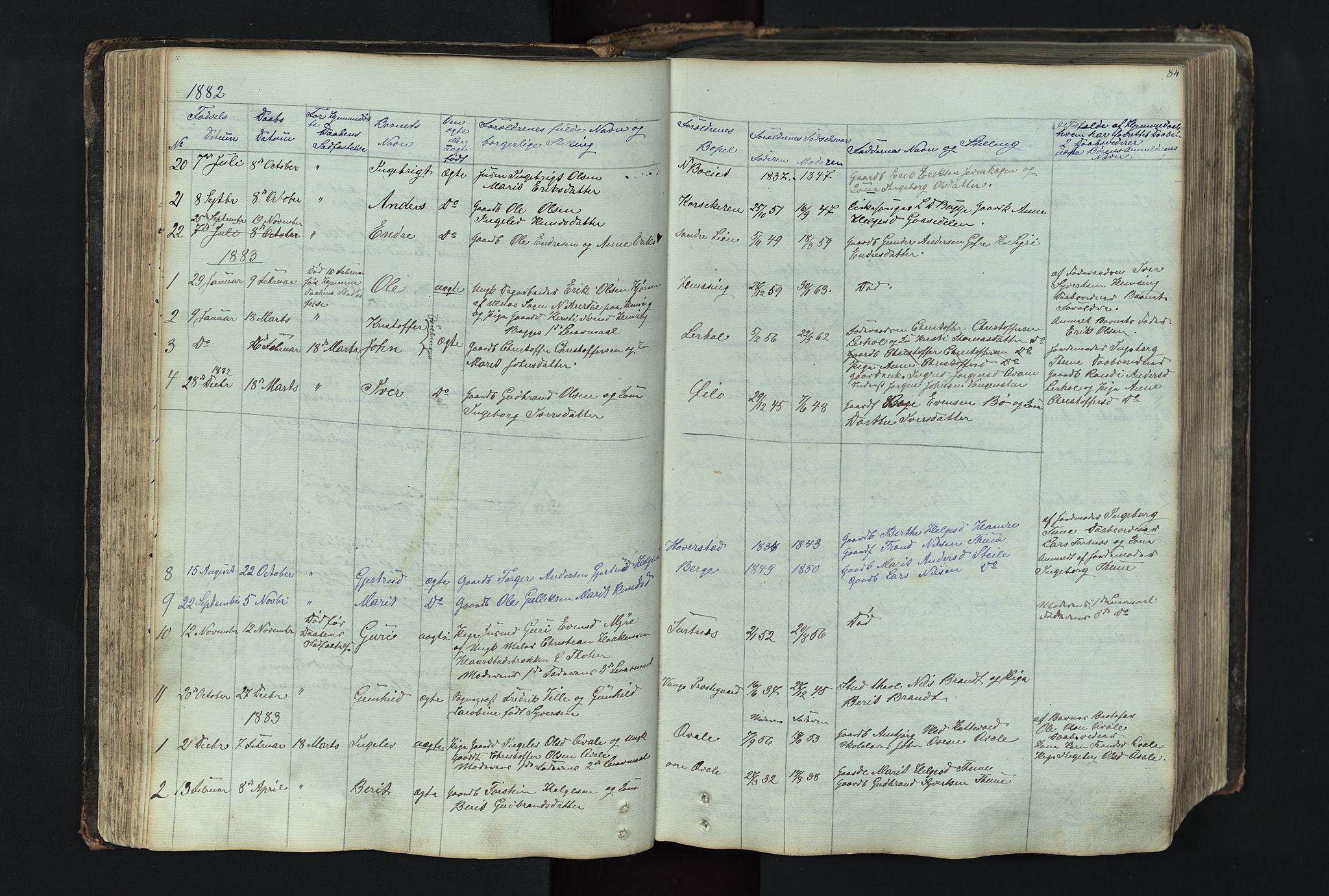 SAH, Vang prestekontor, Valdres, Klokkerbok nr. 4, 1835-1892, s. 84