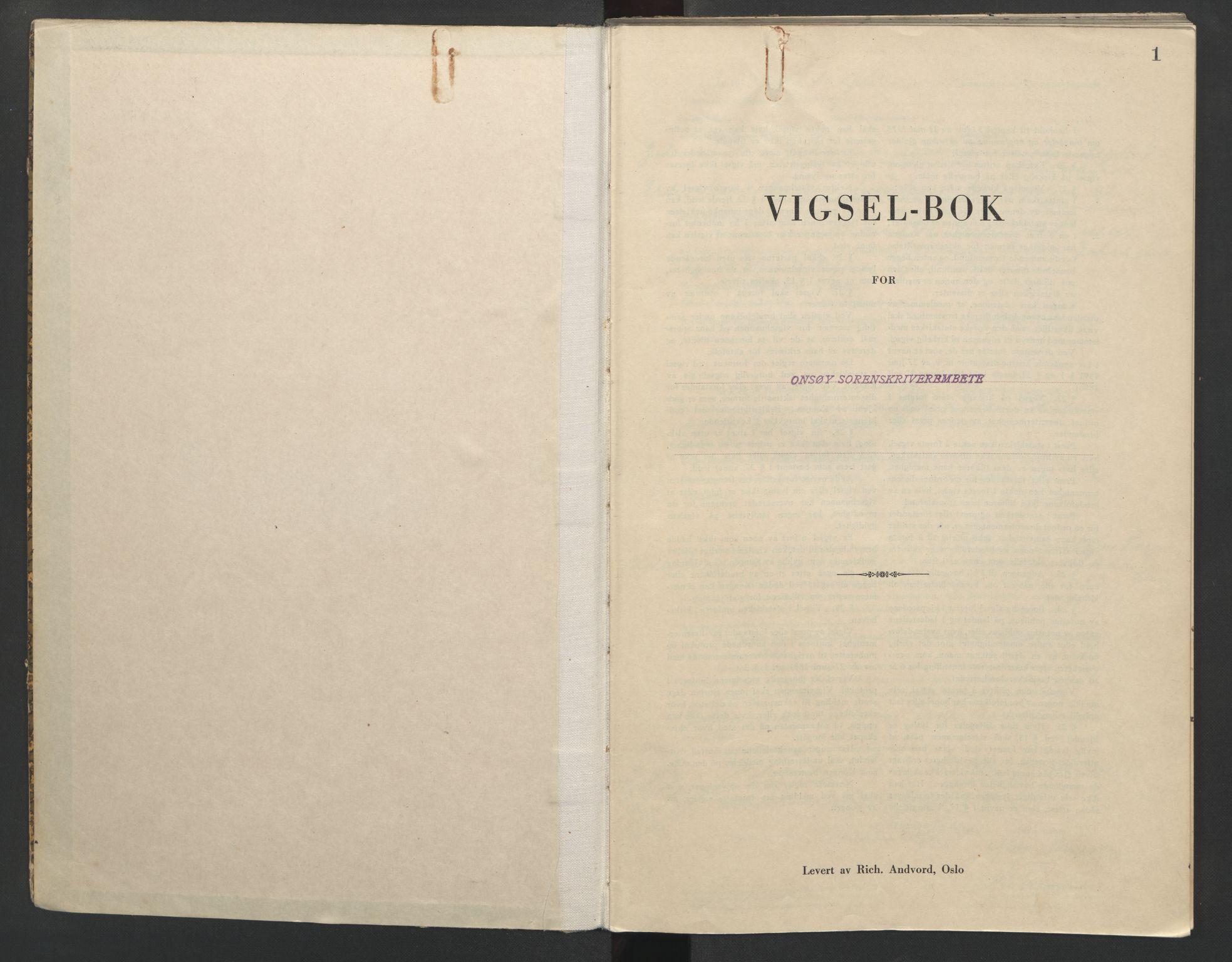 SAO, Onsøy sorenskriveri, L/La/L0003: Vigselsbok, 1943, s. 1