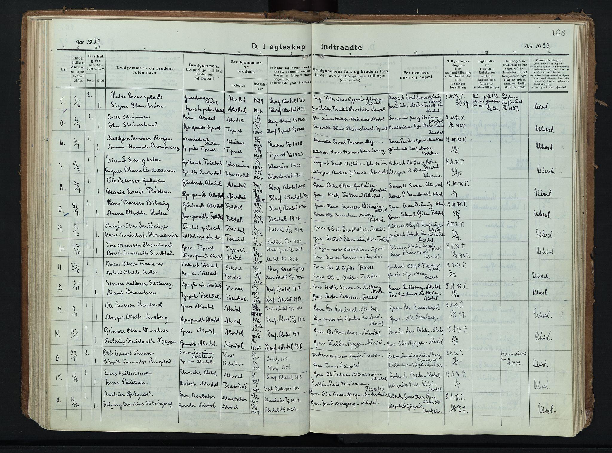 SAH, Alvdal prestekontor, Ministerialbok nr. 6, 1920-1937, s. 168